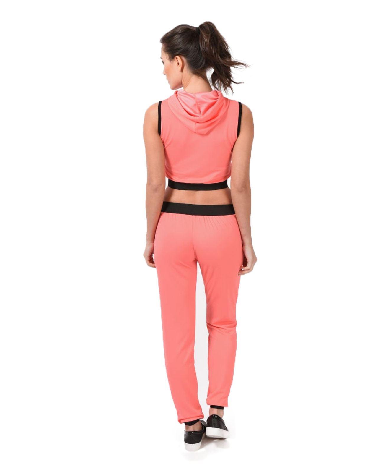 Ladies Women LOVE FITNESS Gym Yoga Hooded 2pcs Tracksuit Jogging Set Top Bottom