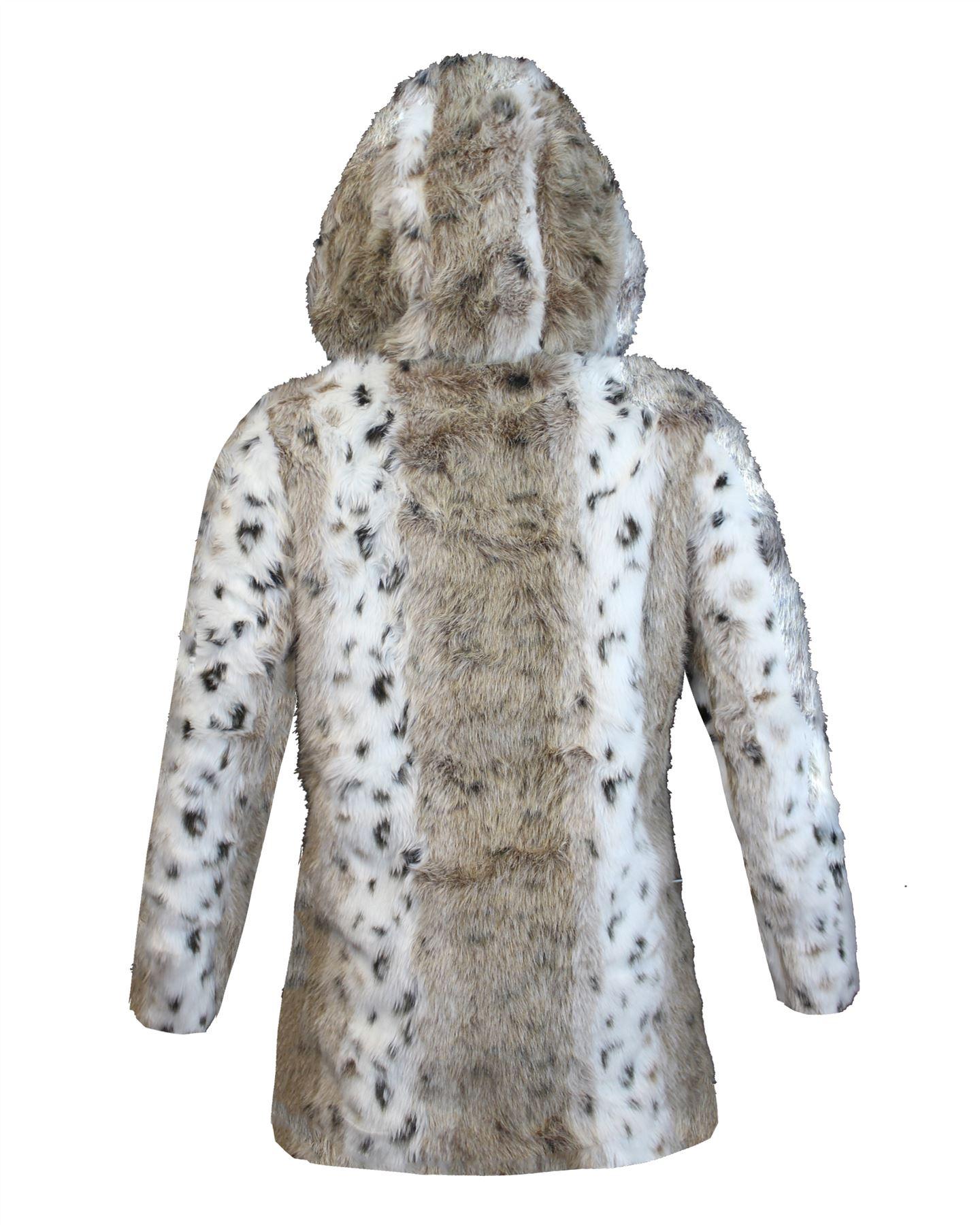 Ladies Women Black Faux Fur Pom Pom Hooded Animal Jacket
