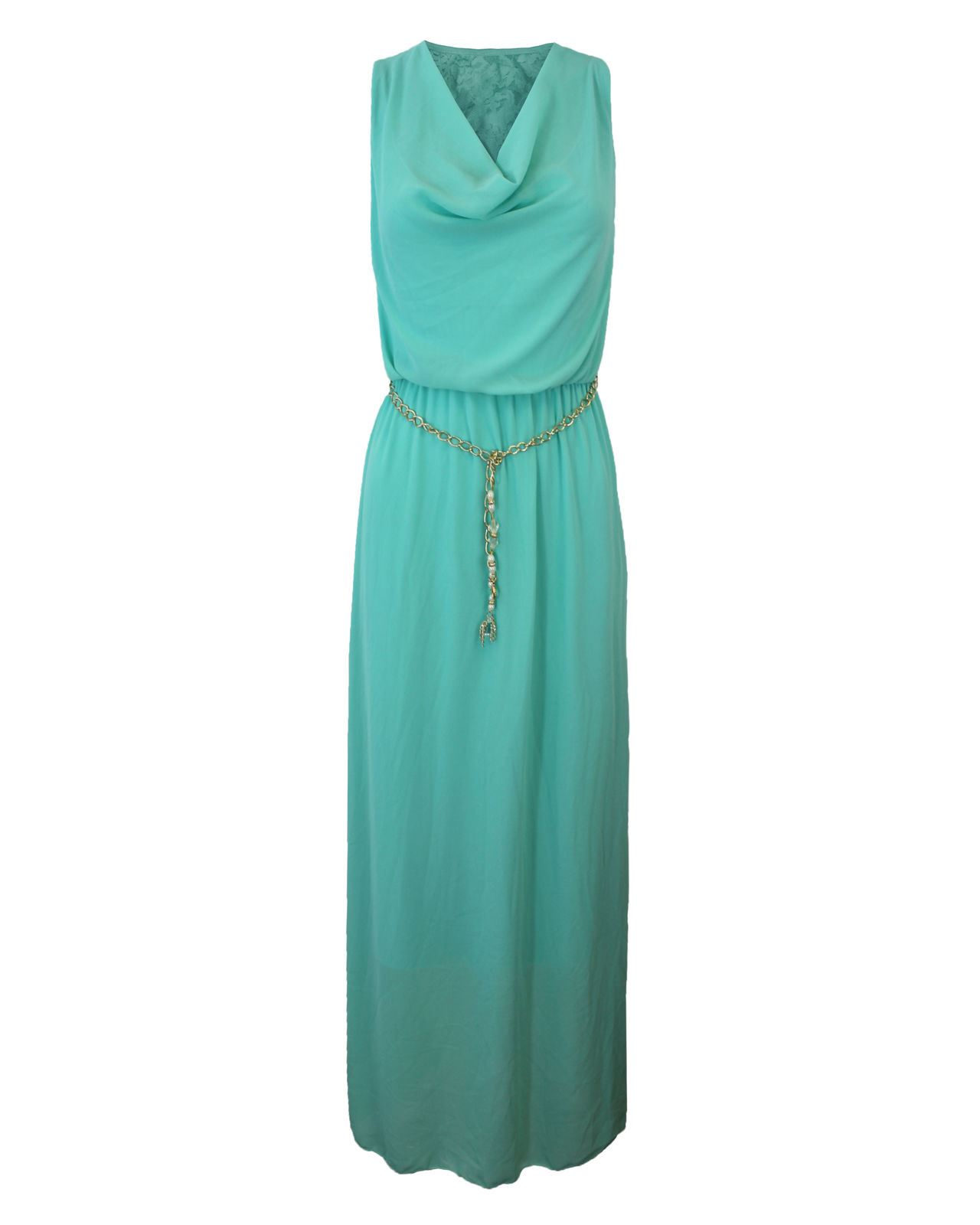 LADIES WOMENS GOLDEN CHAIN WAIST BELT LONG MAXI DETAIL CHIFFON DRESS ...