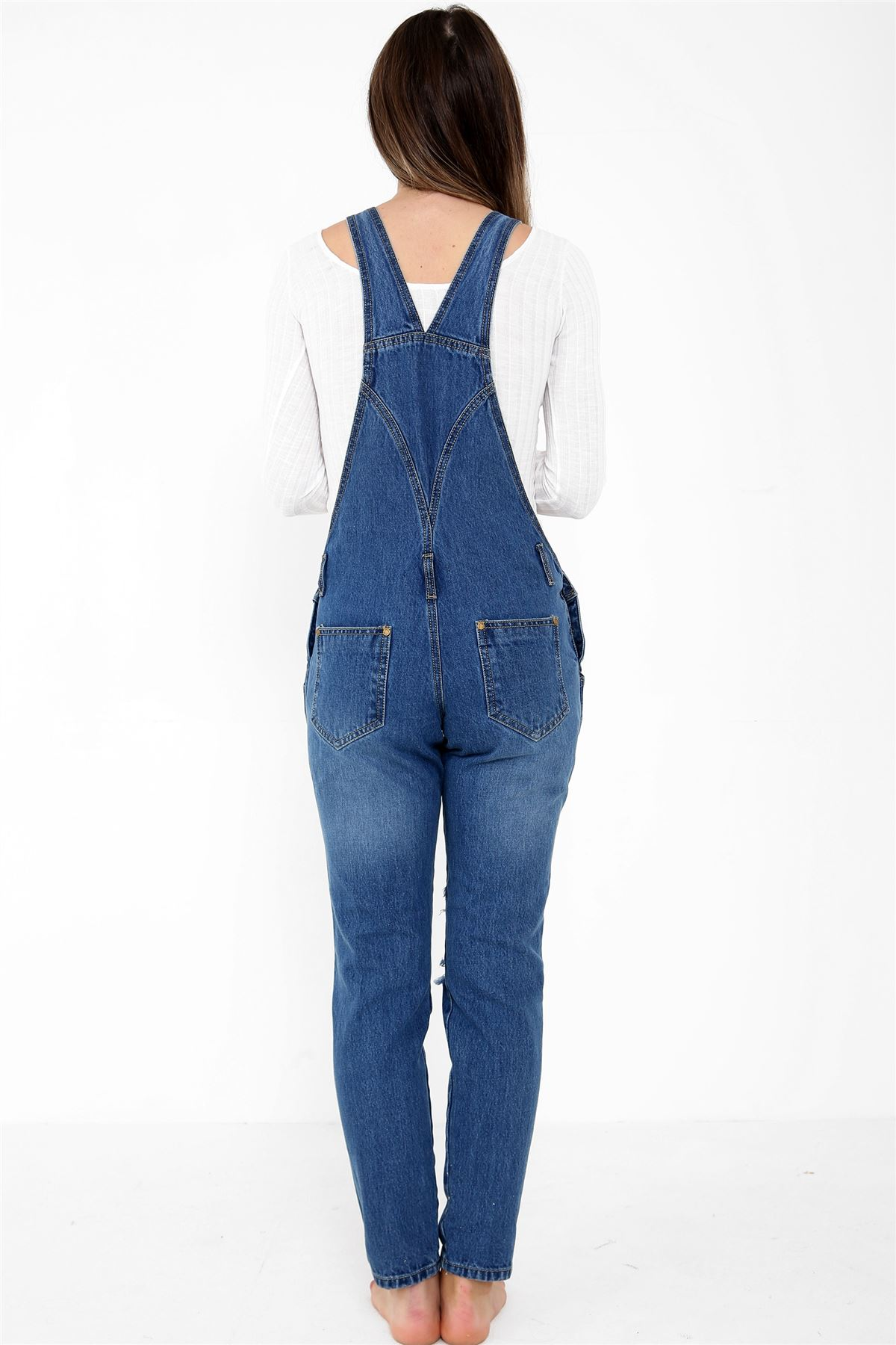 0f389bfaf3 ... Women Knee Ripped Denim Pinafore Dungaree Dress Overall Playsuit  Jumpsuit Blue 10. About this product. Last one. Picture 1 of 4  Picture 2  of 4  Picture ...