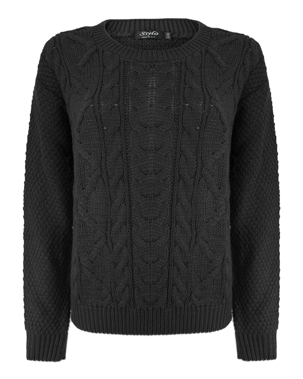Ladies Women Cable Knit Long Sleeve Crew Neck Knitted Jumper Baggy ... c1fffb864