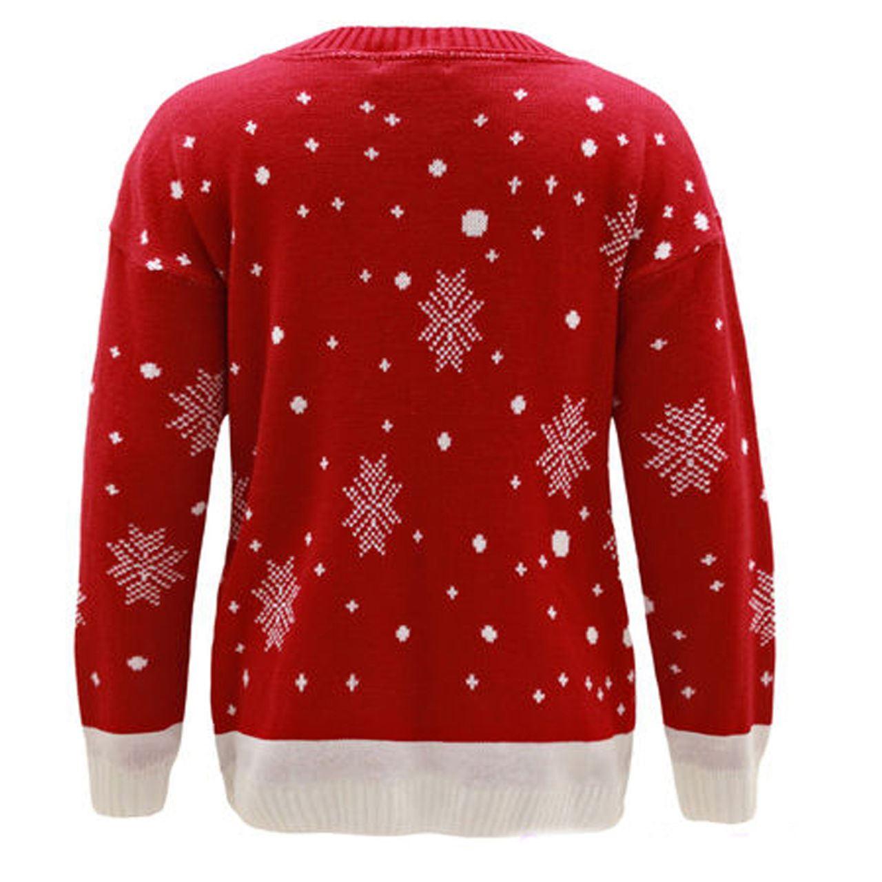 New-Ladies-Women-Men-Knitted-Rudolph-Reindeer-Xmas-Christmas-Jumper-Sweater-Top thumbnail 7