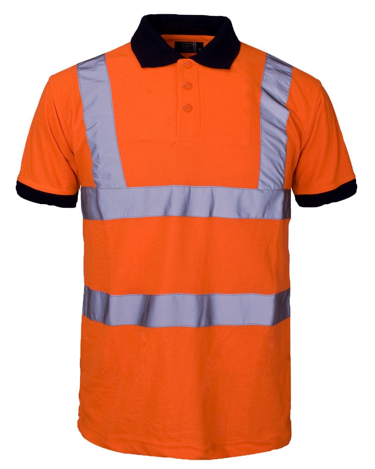 High visibility hi viz vis polo shirt reflective tape for Hi vis safety shirts