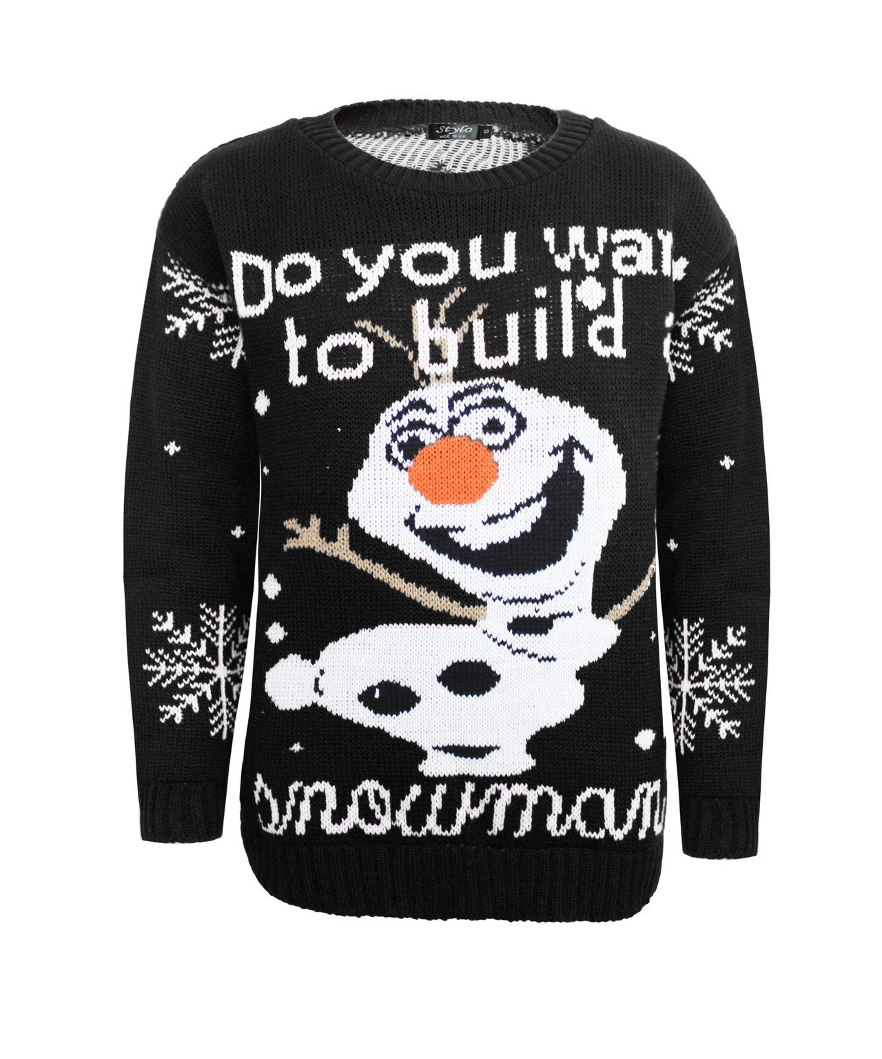 Kids Knitted Do You Want Build A Snowman Christams Xmas Olaf Jumper ...