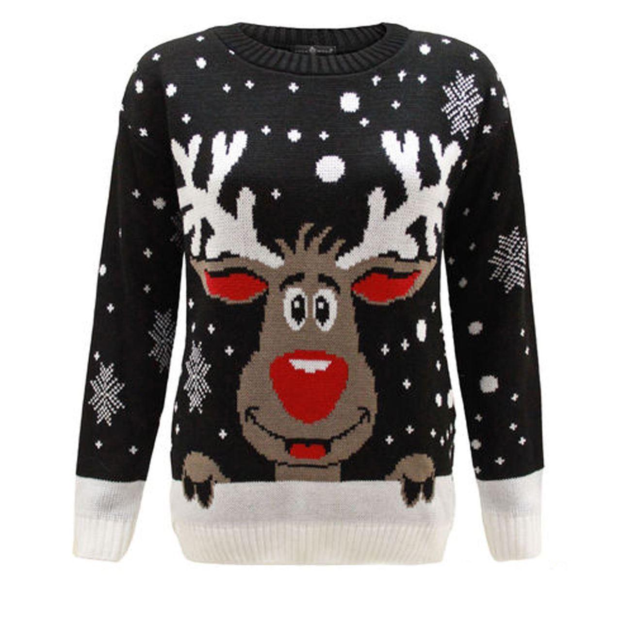 ladies women men knitted reindeer christmas xmas chunky. Black Bedroom Furniture Sets. Home Design Ideas