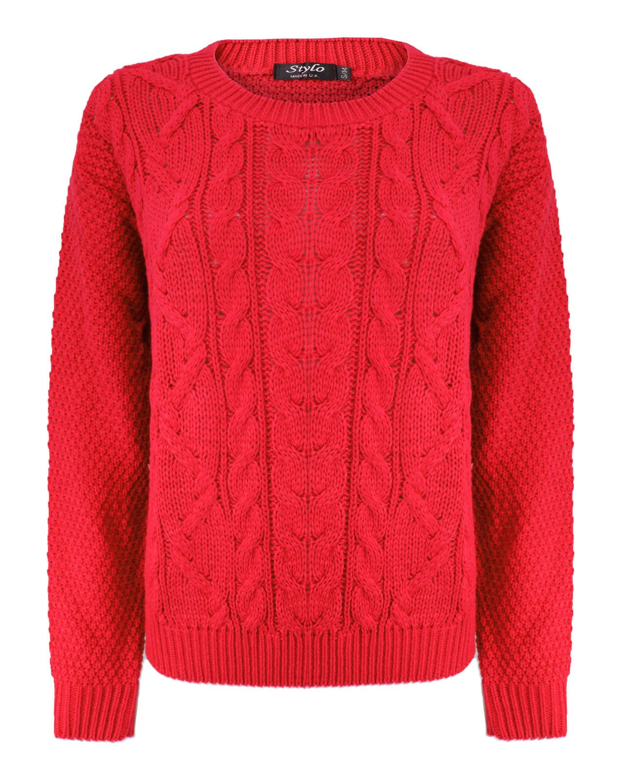 d1818266f Details about Ladies Women Cable Knit Long Sleeve Crew Neck Knitted Jumper  Baggy Sweater Top