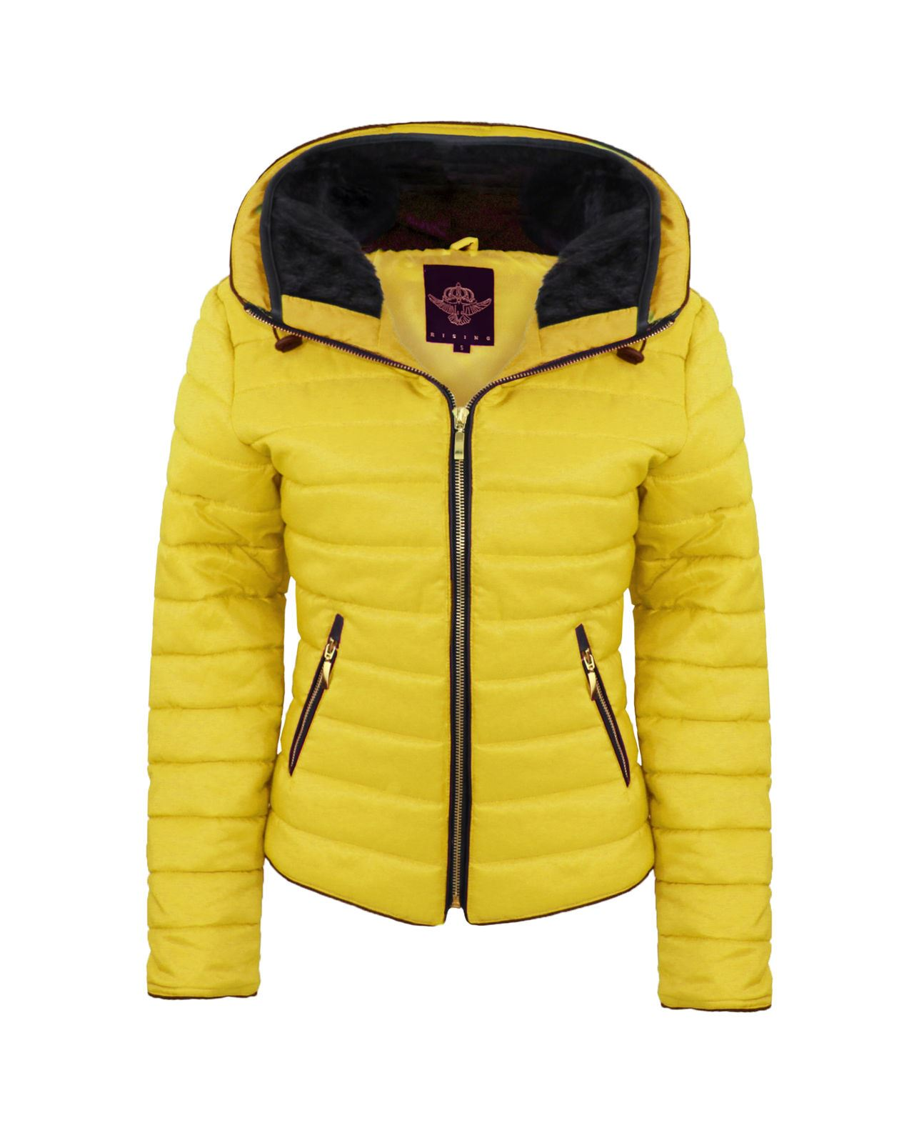 e4f968b5b Details about New Ladies Womens Bubble Quilted Padded Puffer Fur Collar  Warm Thick Jacket Coat