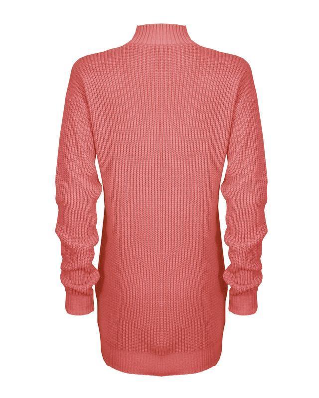 Le-donne-Donna-A-Maglia-Girocollo-Maglione-a-trama-grossa-Collo-Top-Baggy-Over-dimensionati-sweater miniatura 26
