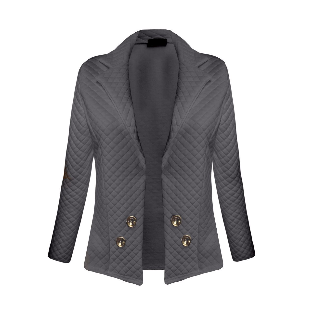 Quilted Blazers: NEW WOMENS QUILTED BUTTON DETAIL LADIES BLAZER COLLAR OPEN