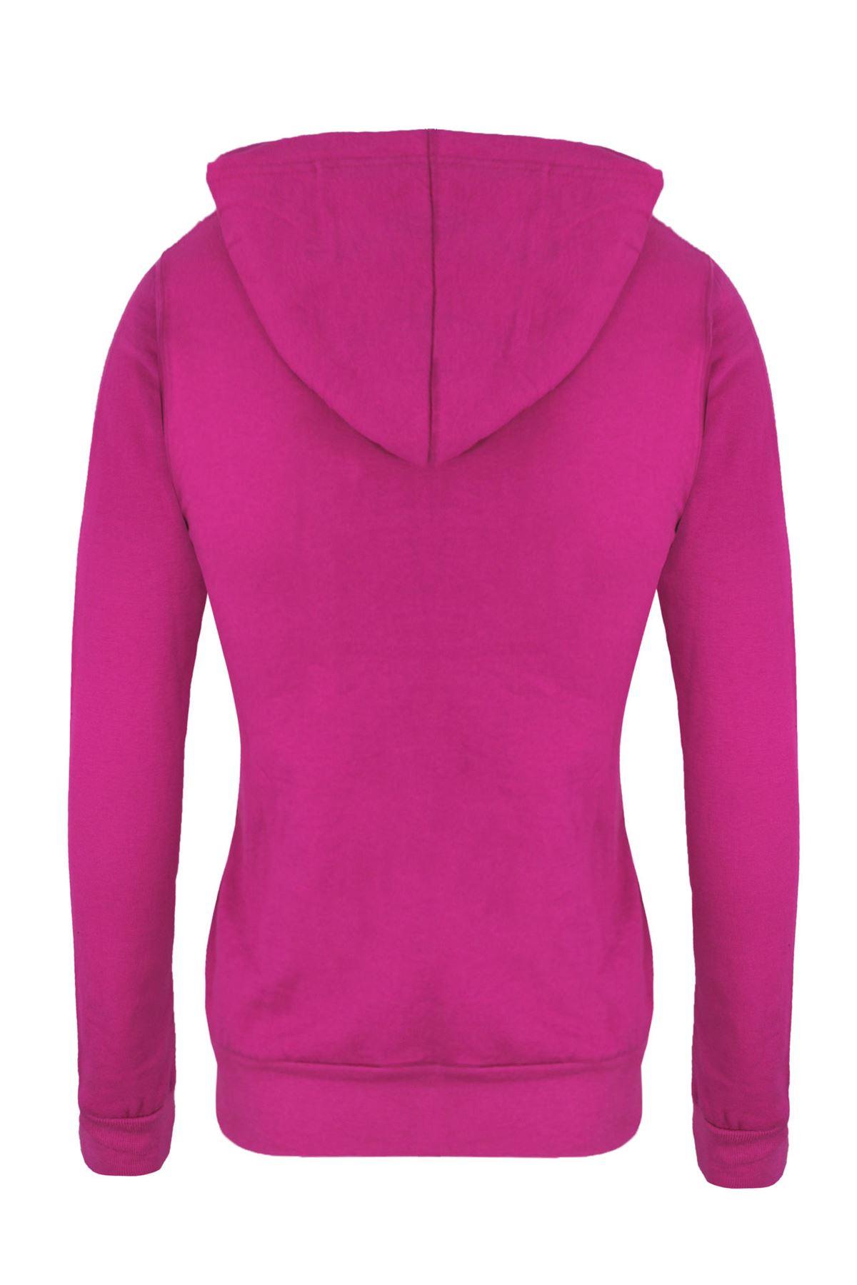 Femmes-Manches-Longues-Uni-A-Capuche-Femmes-Sweat-a-Capuche-Coton-Top-8-10-12-14 miniature 8