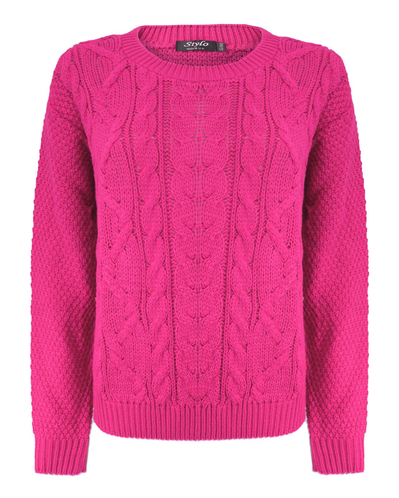 New Womens Ladies Crew Neck Cable Knitted Sweater Long Sleeve Pullover Jumper Knitwear Tops UK 8-18