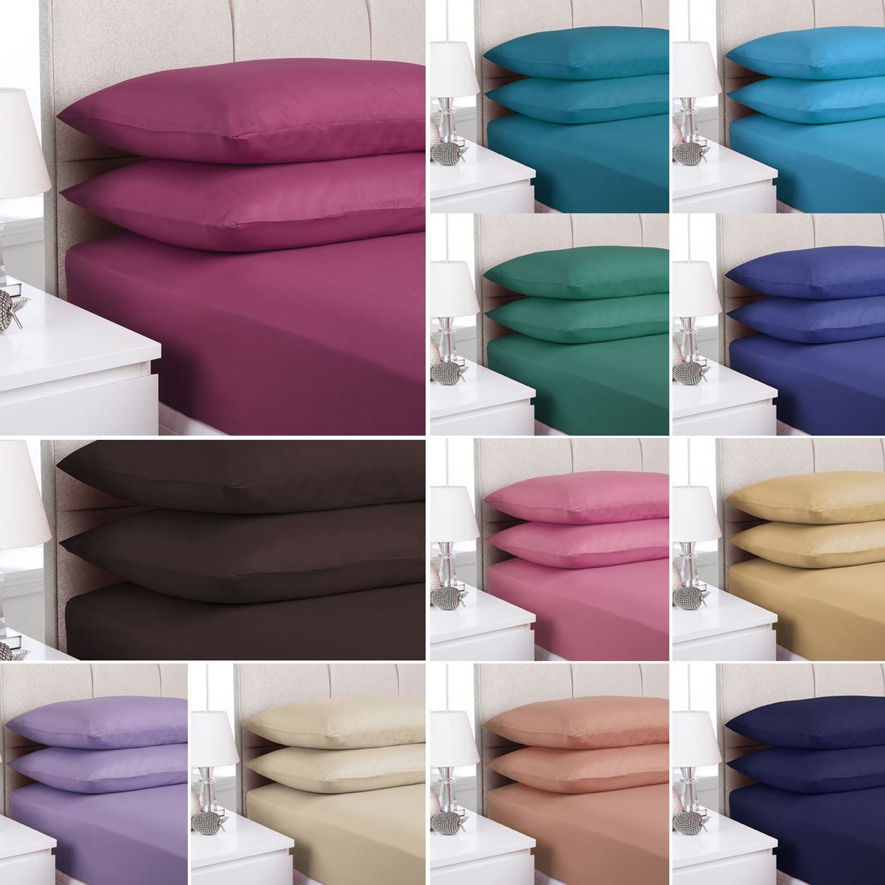 plain fitted bed sheets dyed colour all sizes single. Black Bedroom Furniture Sets. Home Design Ideas