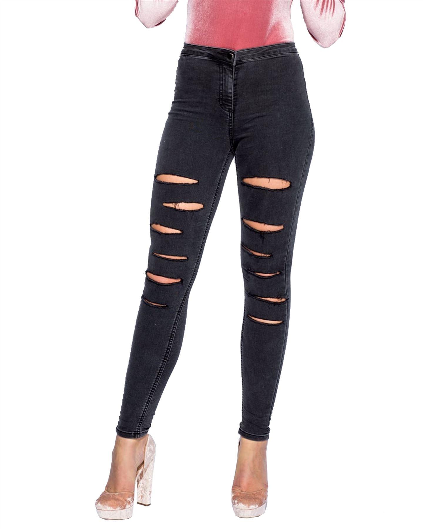 New Ladies Women Faded Ripped Denim Multi Slash Skinny Stretchy Jeans Jeggings