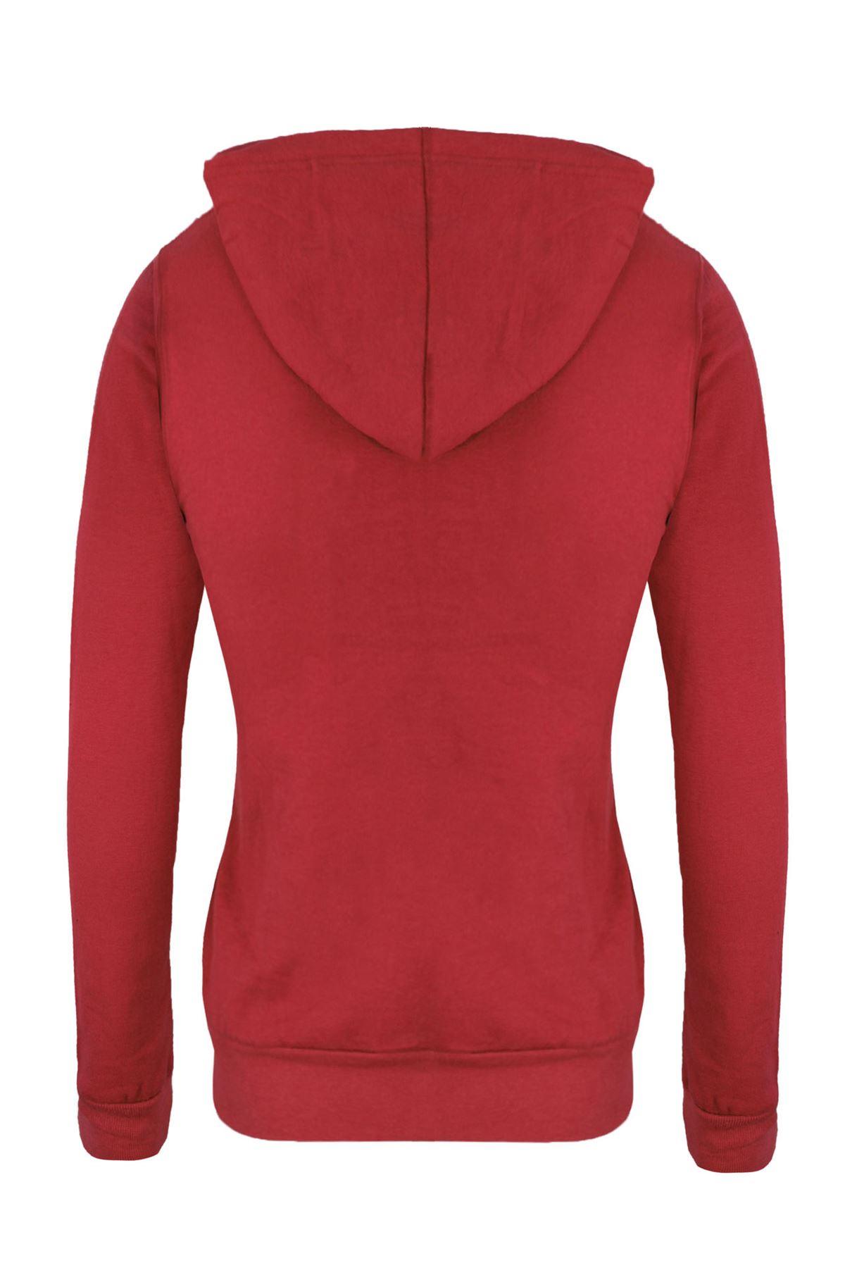 Femmes-Manches-Longues-Uni-A-Capuche-Femmes-Sweat-a-Capuche-Coton-Top-8-10-12-14 miniature 3