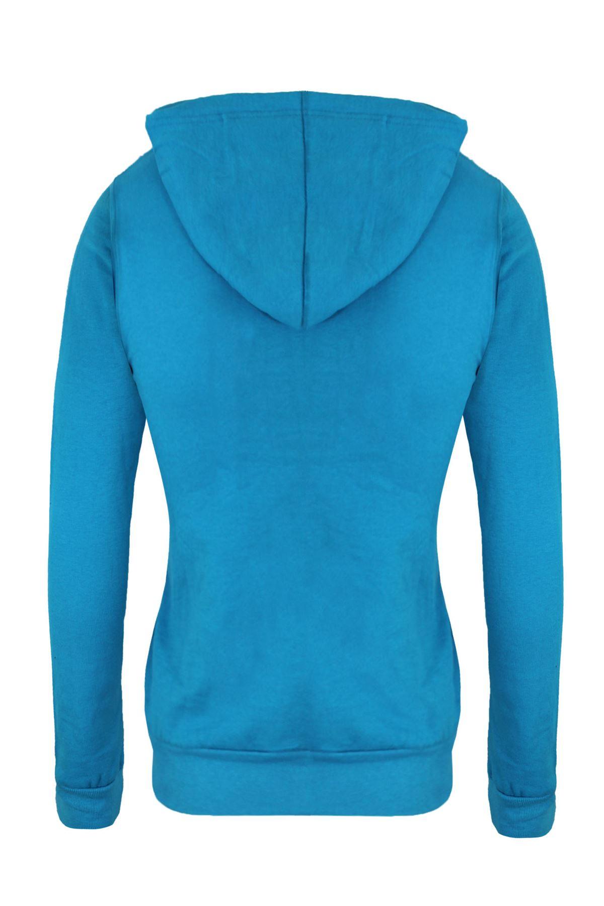 Femmes-Manches-Longues-Uni-A-Capuche-Femmes-Sweat-a-Capuche-Coton-Top-8-10-12-14 miniature 10