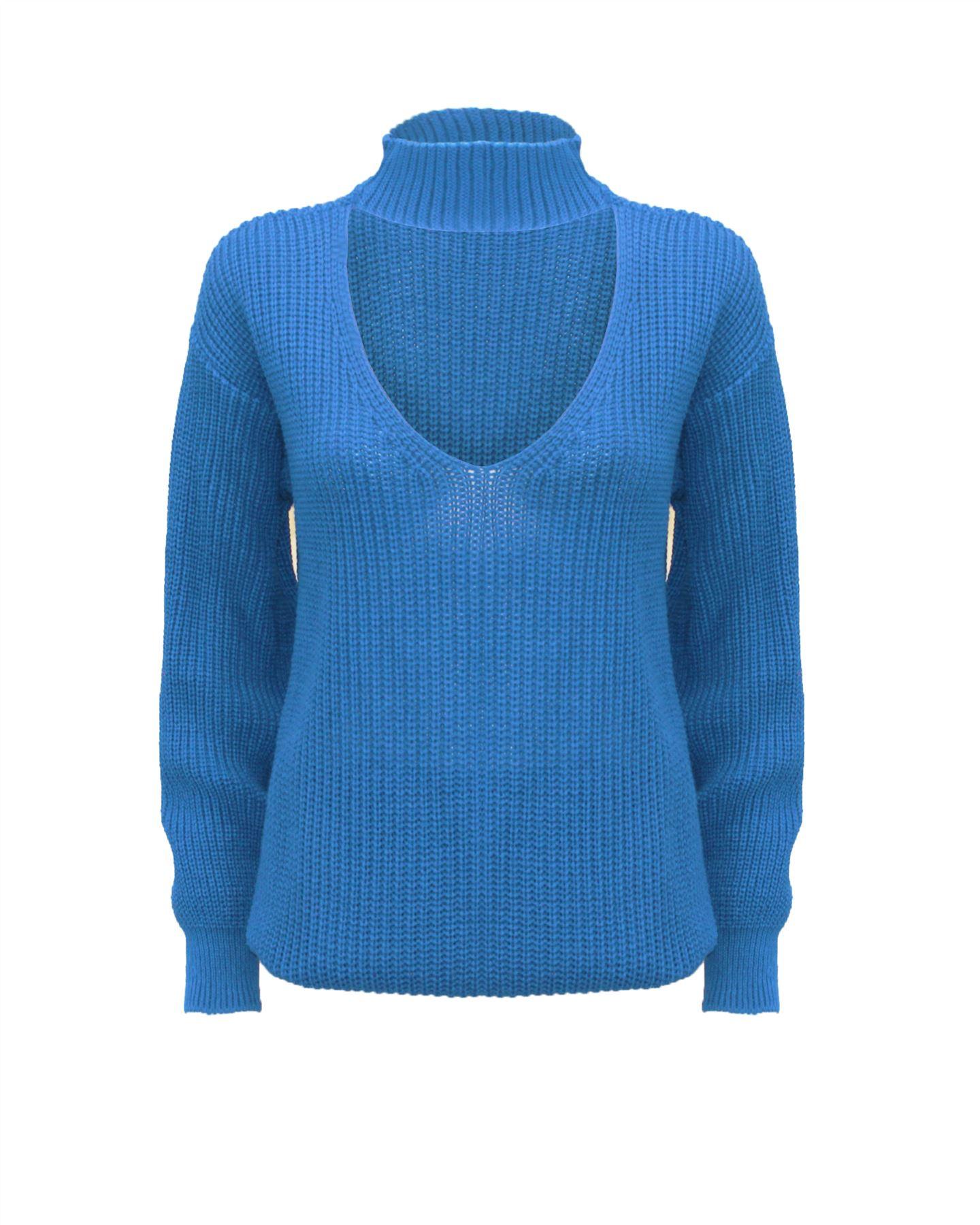 Le-donne-Donna-A-Maglia-Girocollo-Maglione-a-trama-grossa-Collo-Top-Baggy-Over-dimensionati-sweater miniatura 11