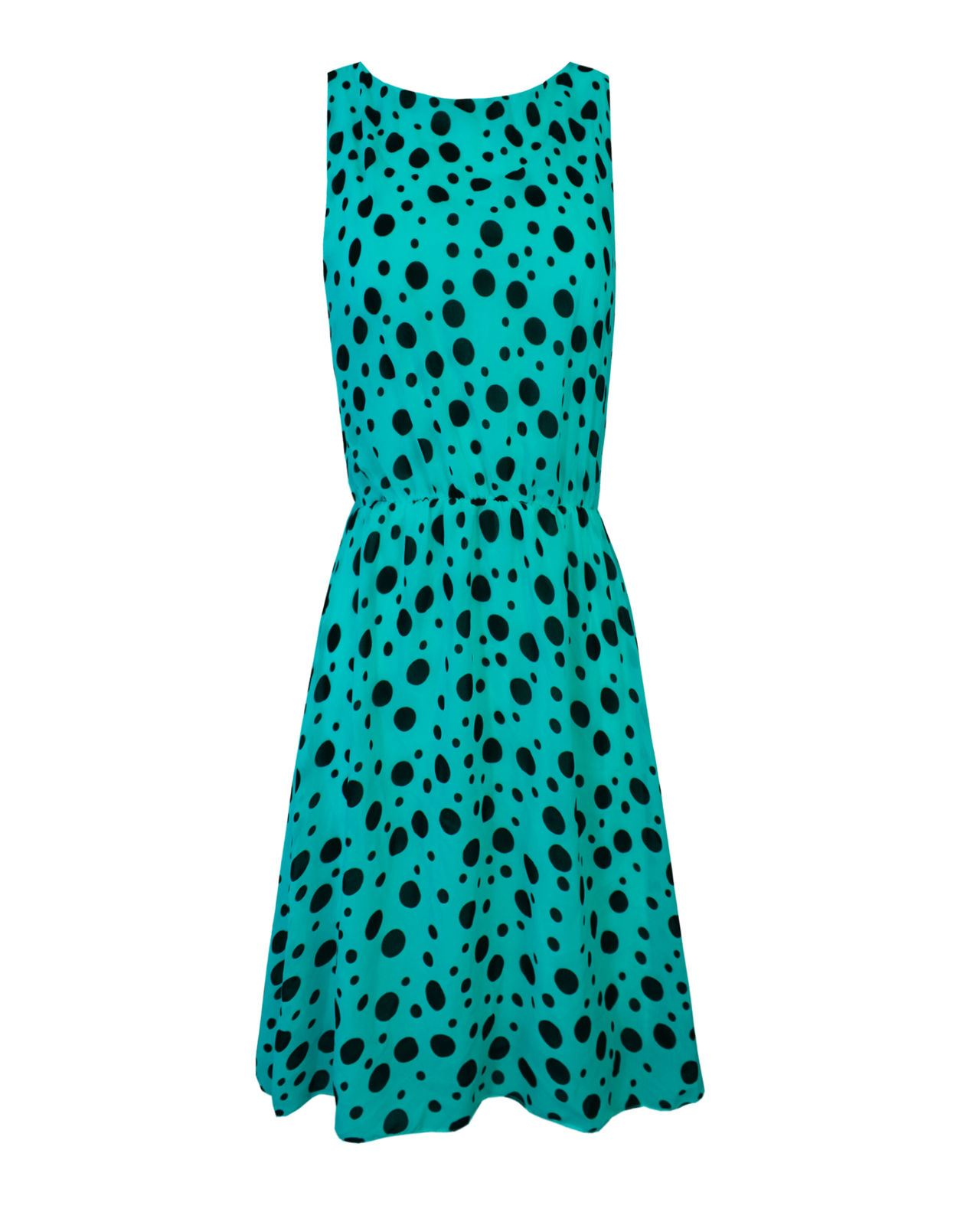 Senoras-mujeres-Swing-Acampanado-Skater-Polka-Dot-Detalle-Vestido-Cintura-Elastica-Top miniatura 5
