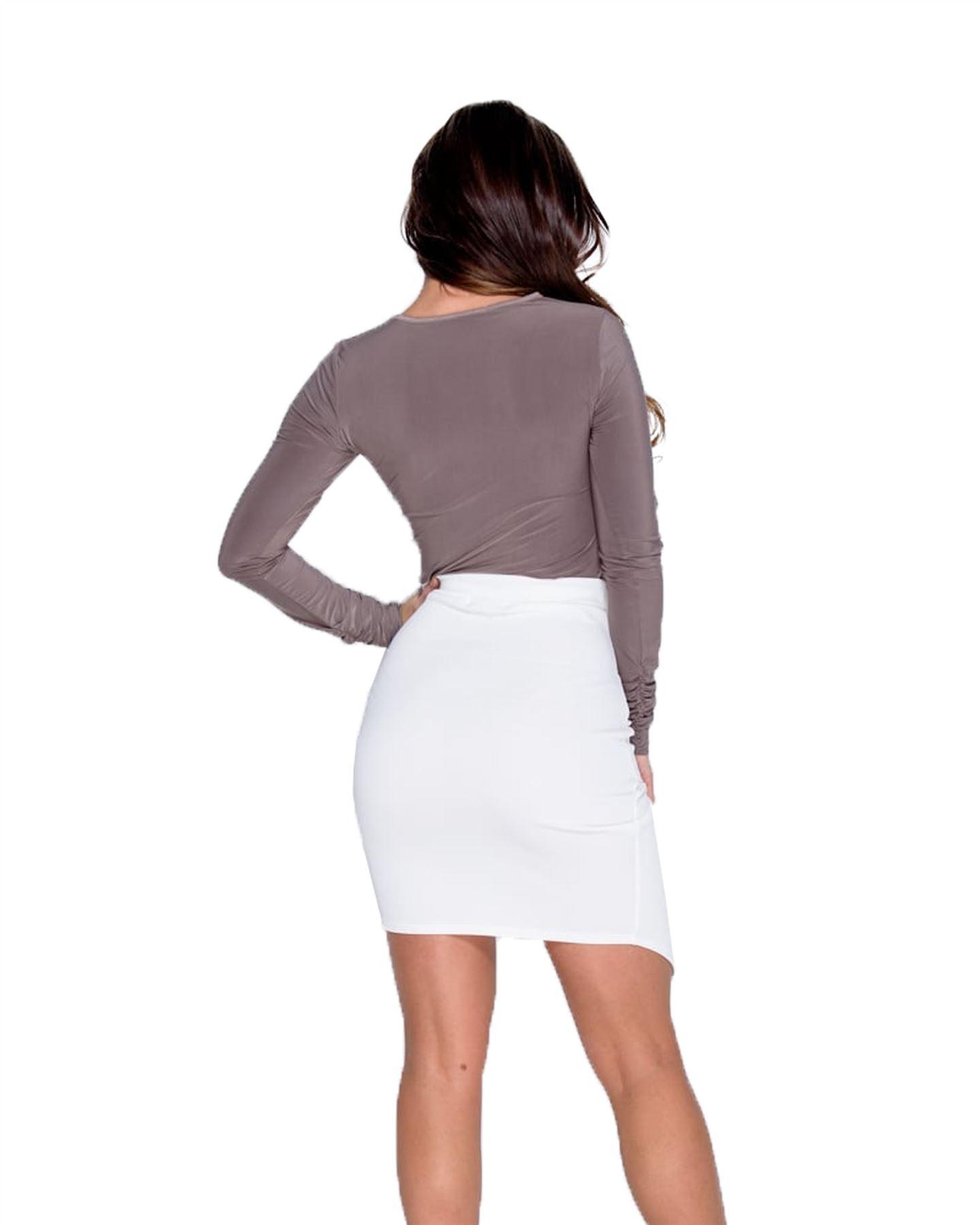 New Ladies Women Wrap Over Asymmetric Hem Bodycon Wrap Mini Stretch Skirt 6-14