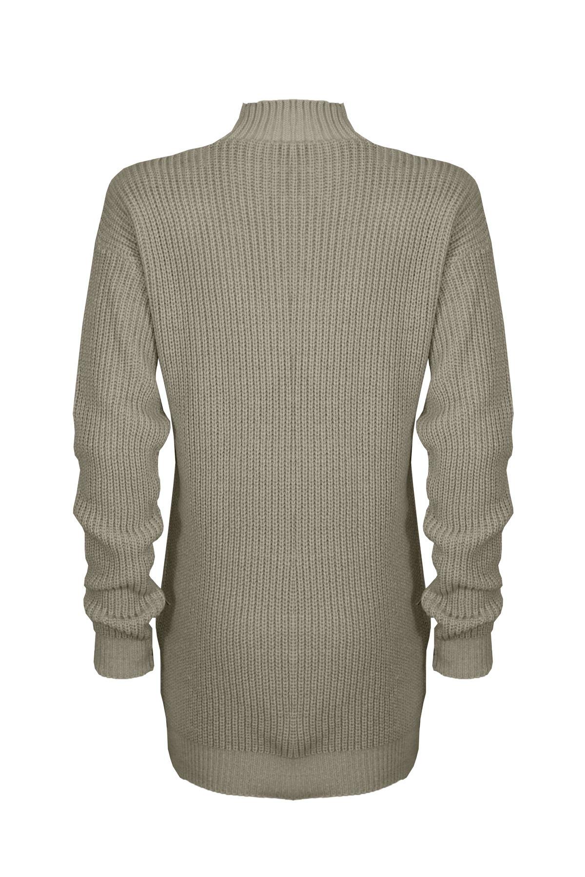 Le-donne-Donna-A-Maglia-Girocollo-Maglione-a-trama-grossa-Collo-Top-Baggy-Over-dimensionati-sweater miniatura 9