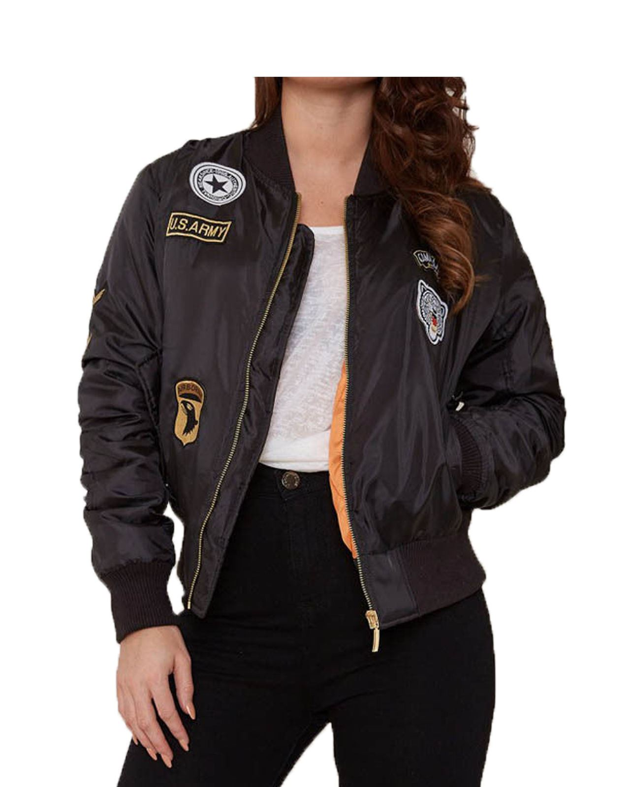 ec909b9be Details about Ladies Women US ARMY Comando Patch MA-1 Bomber Biker Jacket  WINTAGE Classic COAT