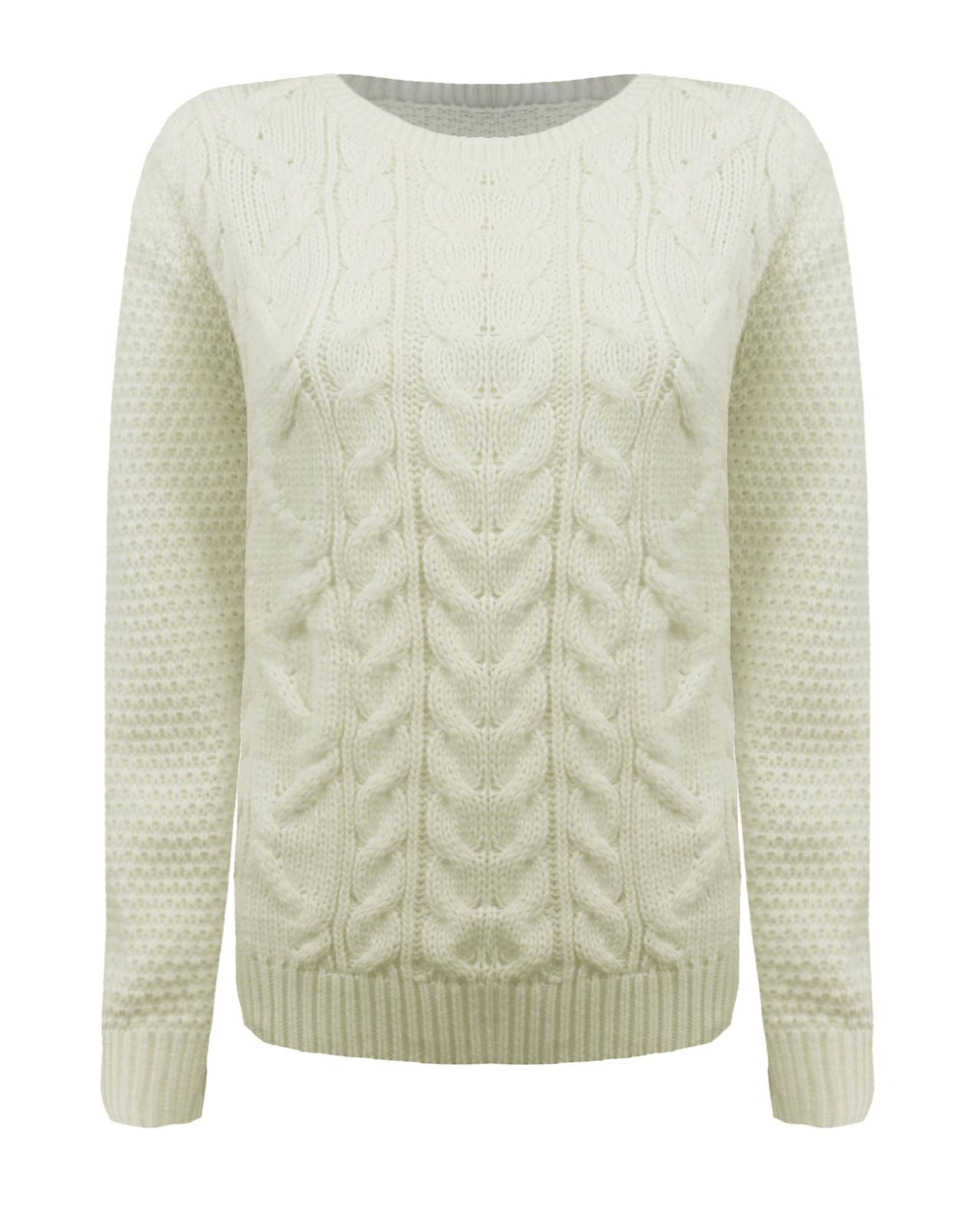 Ladies Women Knitted Crew Neck Long Sleeve Cable Knit Jumper Chunky