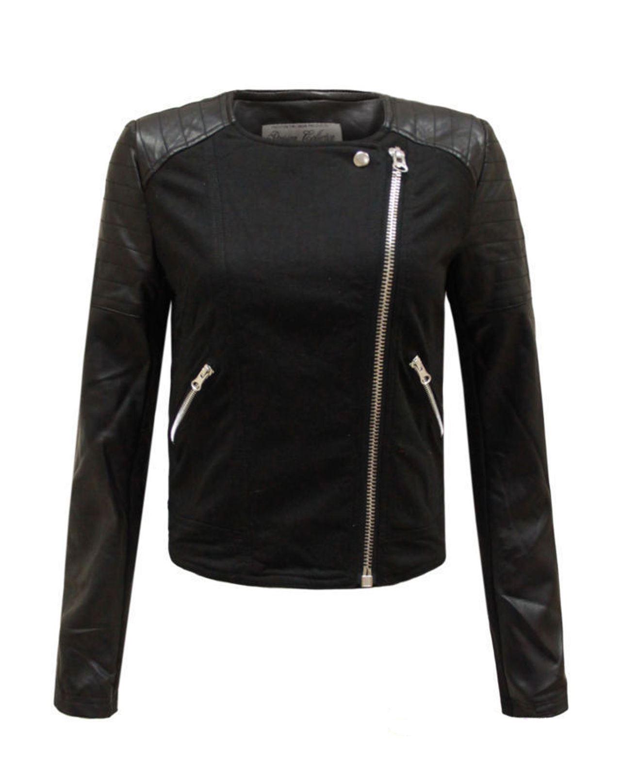 New Ladies Women Faux Furr Collar Leather Pu Pvc Biker Jacket Side Zip Size 8-16