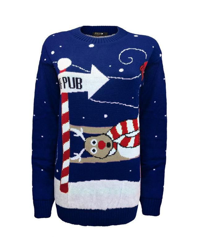 Unisex-Men-knitted-To-the-Pub-Women-ladies-Christmas-Xmas-Jumper-Top-Sweater thumbnail 4
