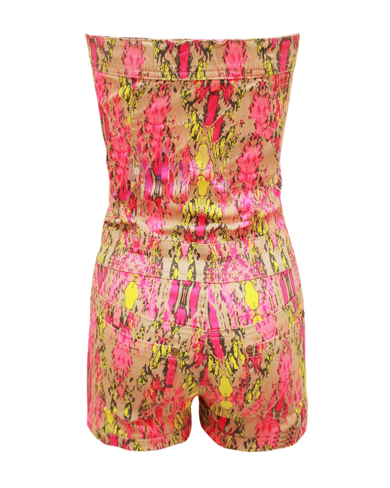 Senoras-para-mujer-Tie-Dye-Impreso-Sin-Tirantes-Boobtube-Hotpant-Mono-Mono-corto-6-14 miniatura 3