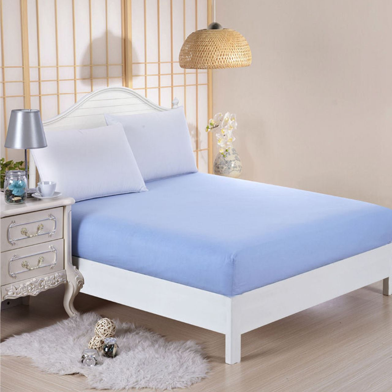 Plain Fitted Bed Sheets Single Double King Super