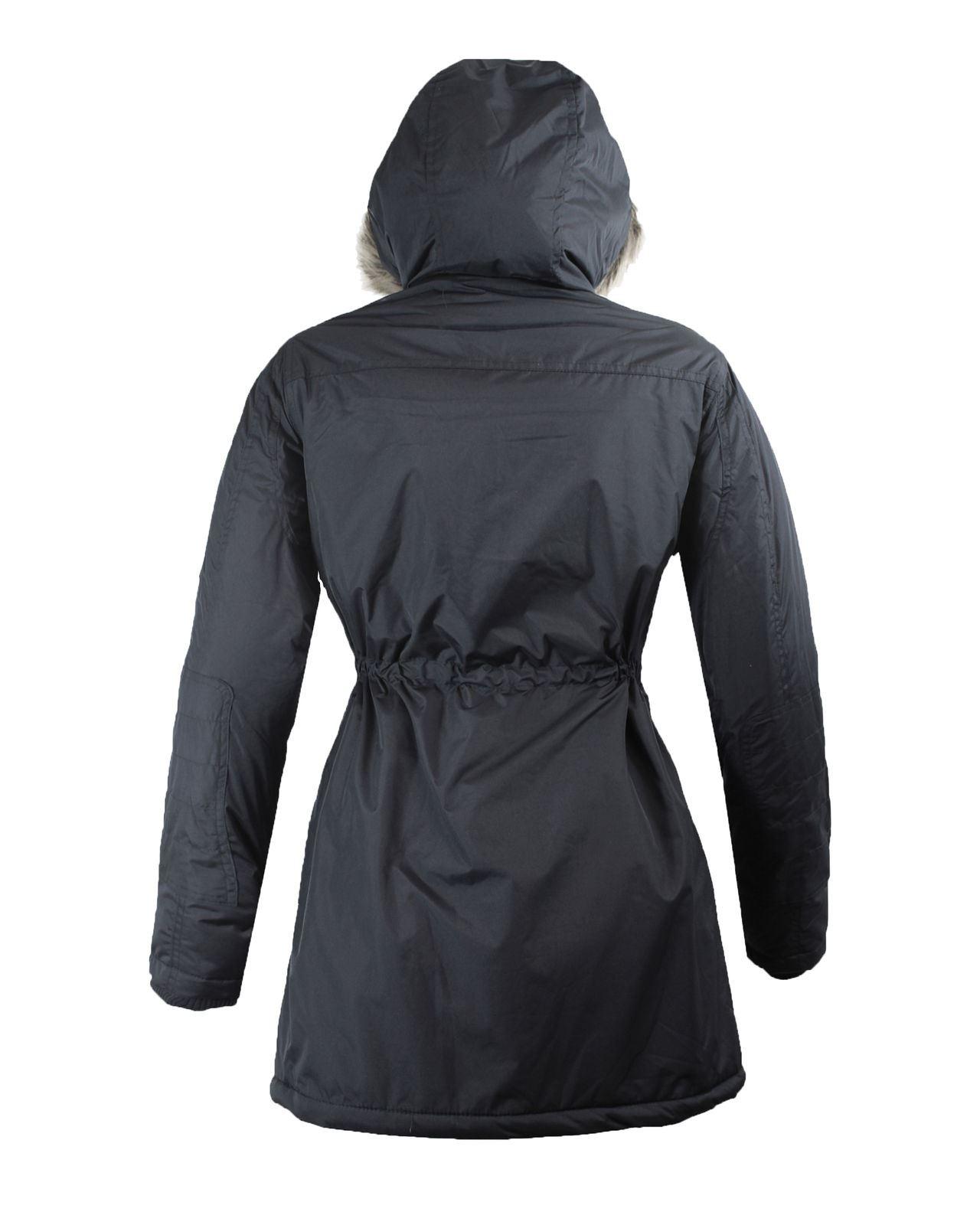 New-Ladies-Womens-Fur-Hooded-Zipped-Parka-Jacket-Pocketed-Coat-Size-10-12-14-166 thumbnail 4