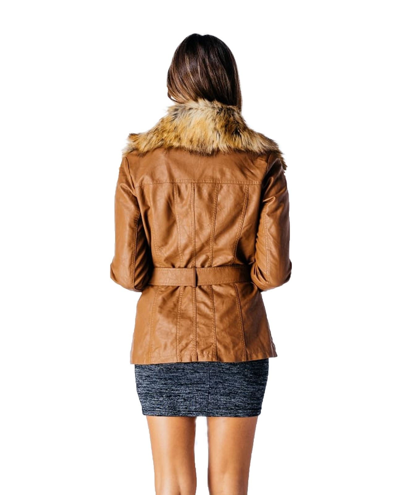 fd41ef2f8 Details about Ladies Womens Faux Fur Collar PU Leather Bomber Bicker Jacket  Coat Top Size 8-14