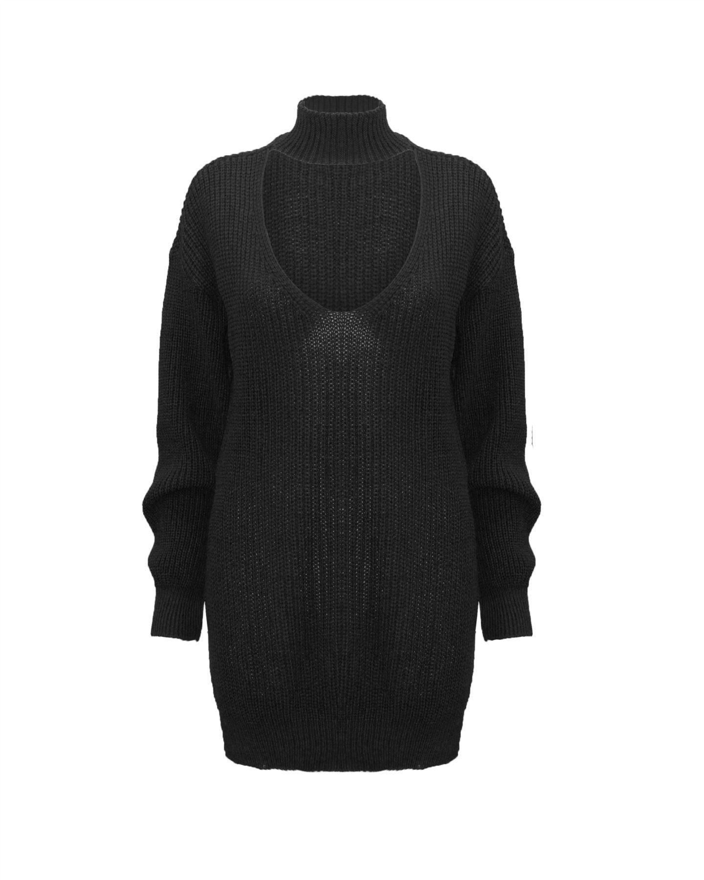 Le-donne-Donna-A-Maglia-Girocollo-Maglione-a-trama-grossa-Collo-Top-Baggy-Over-dimensionati-sweater miniatura 2
