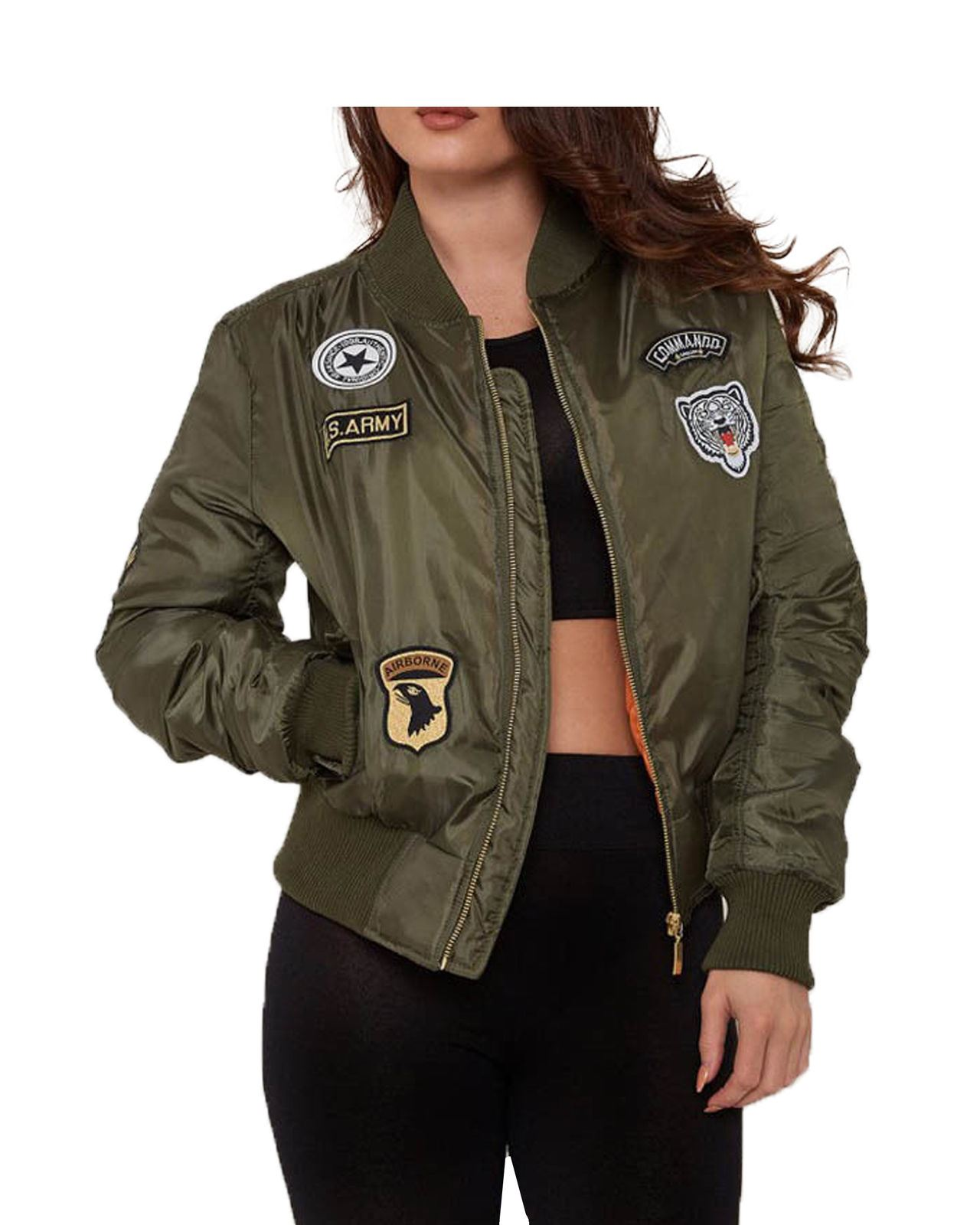 Ladies Women MA1 ARMY Patches Classic Bomber Camouflage Jacket Padded Coat | EBay