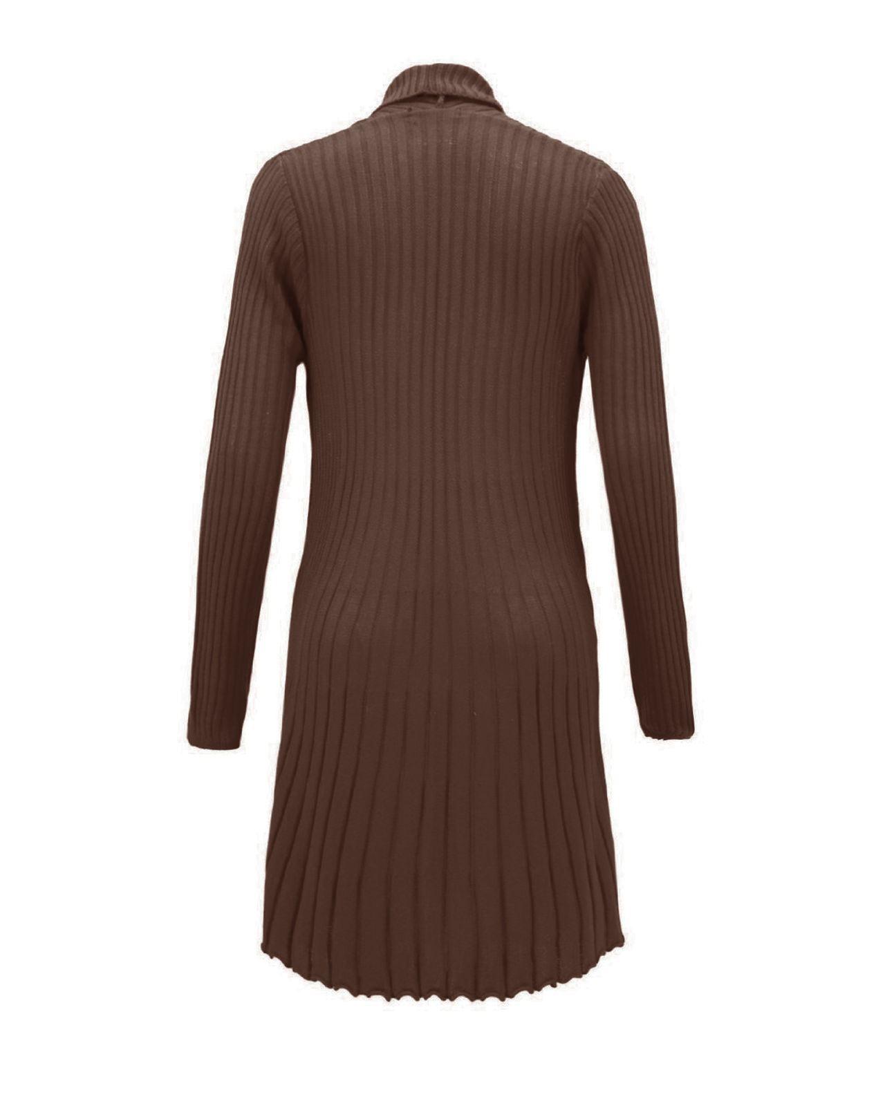 Senoras-Mujeres-De-Punto-Boyfriend-Cardigan-Brooched-Cascada-sumeria-Vestido-Jumper miniatura 5