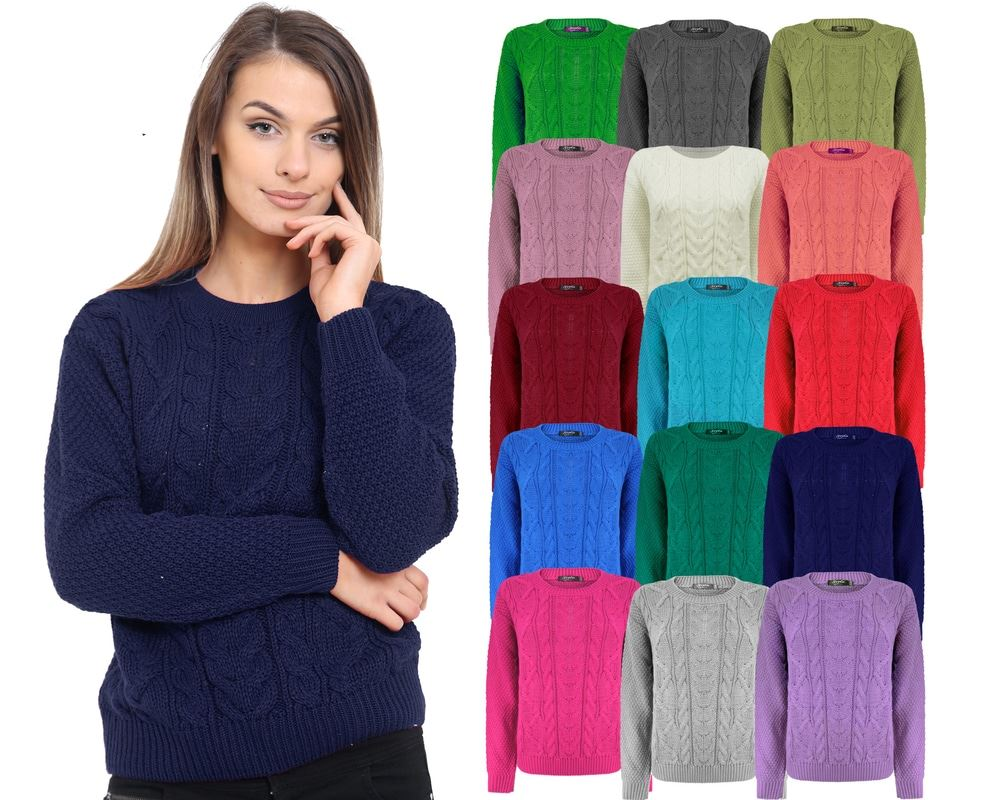 Ladies Long Sleeve Chunky Cable Knitted Jumper Crew Neck Winter Sweater Top