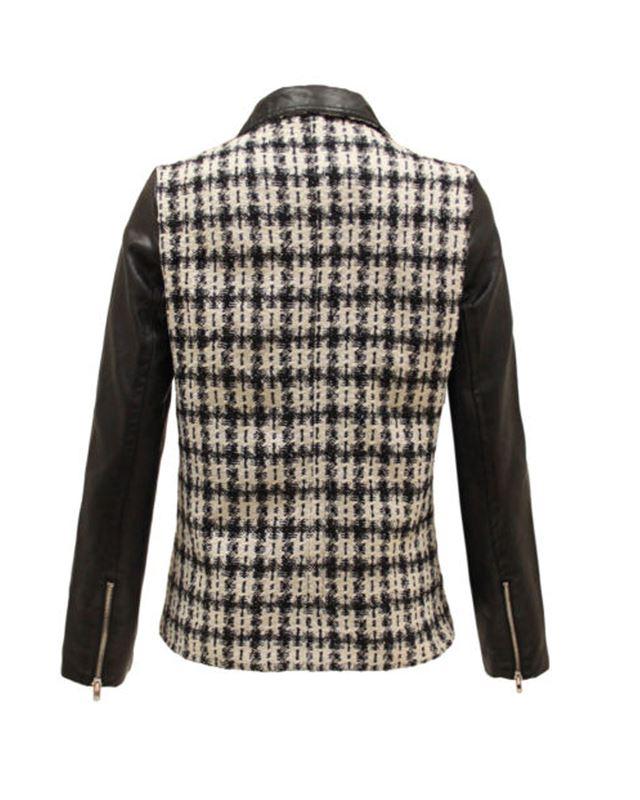 New taglia Ladies giacca con quadri cerniera 8 lampo Leather nero per in PU Colletto 16 Faux a rOnqpdRr
