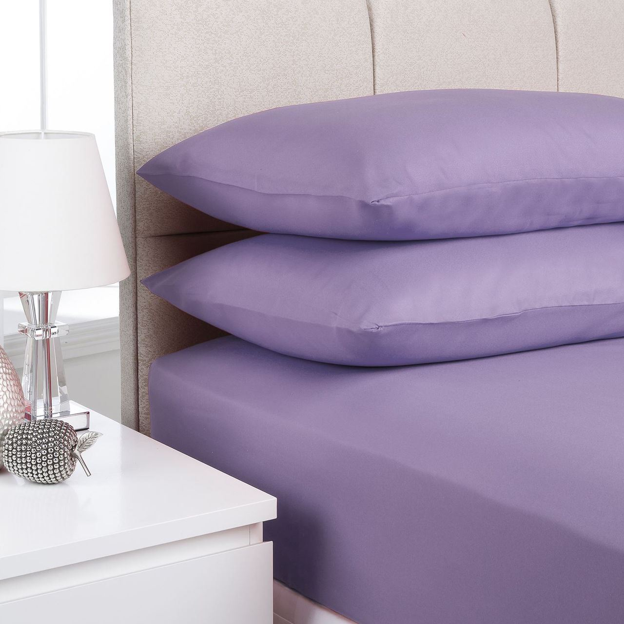 Etonnant 2 Pillow Case Plain Fitted Bed Sheets Dyed