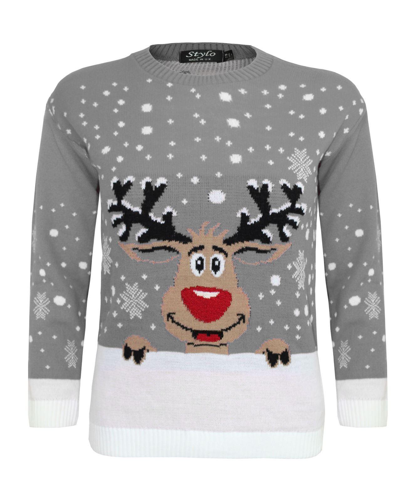 New-Ladies-Women-Men-Knitted-Reindeer-Christmas-Snow-Flakes-Kids-Xmas-Jumper-Top