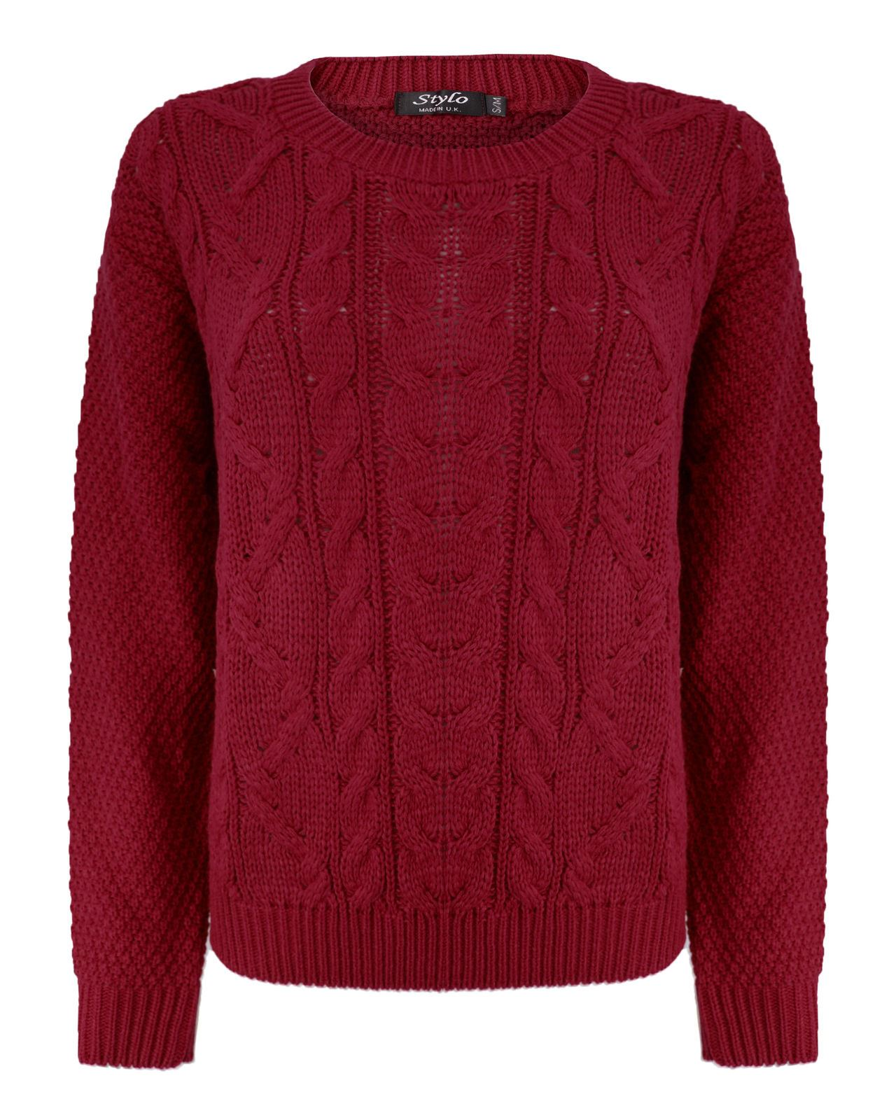 New Ladies Women Knitted Cable Knit Jumper Chunky Baggy Style ...