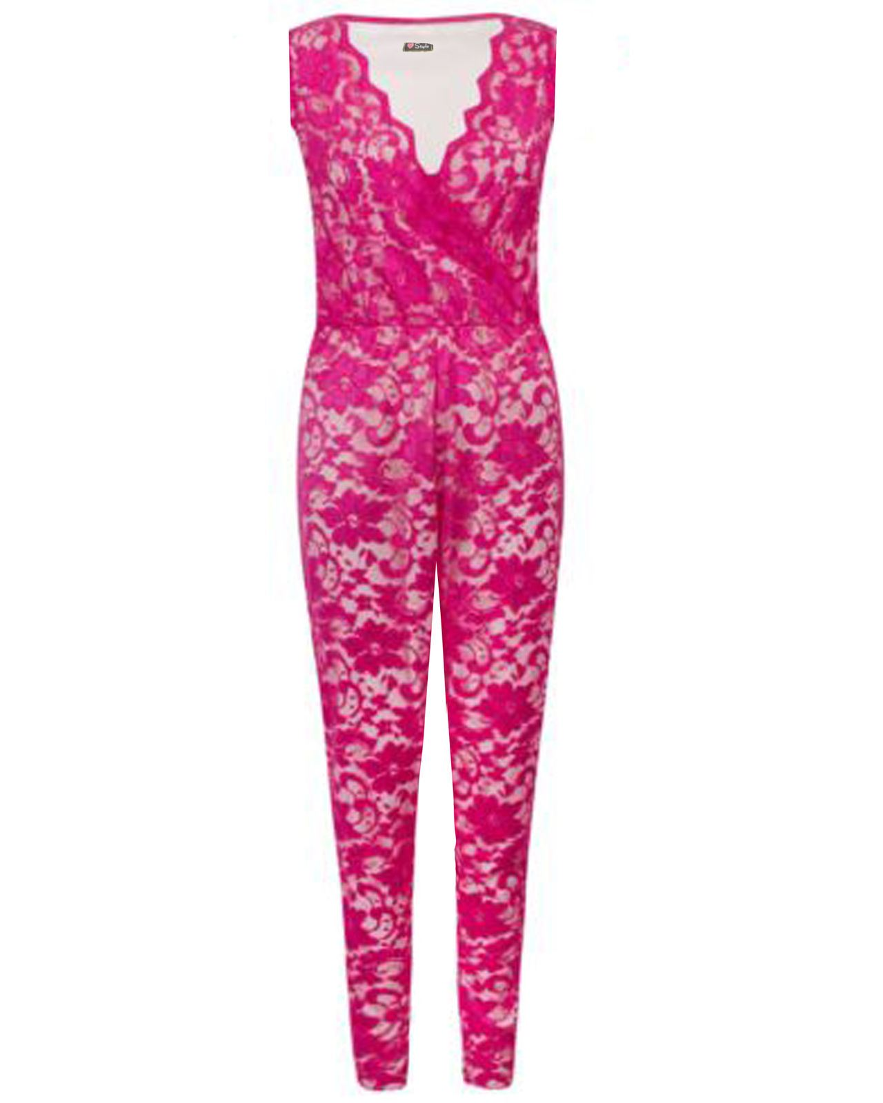 a3fca9245d2 Womens Celebrity Net Lace Floral Ladies Sleeveless Jumpsuit Playsuit Dress  L Fuschia. About this product. Picture 1 of 2  Picture 2 of 2