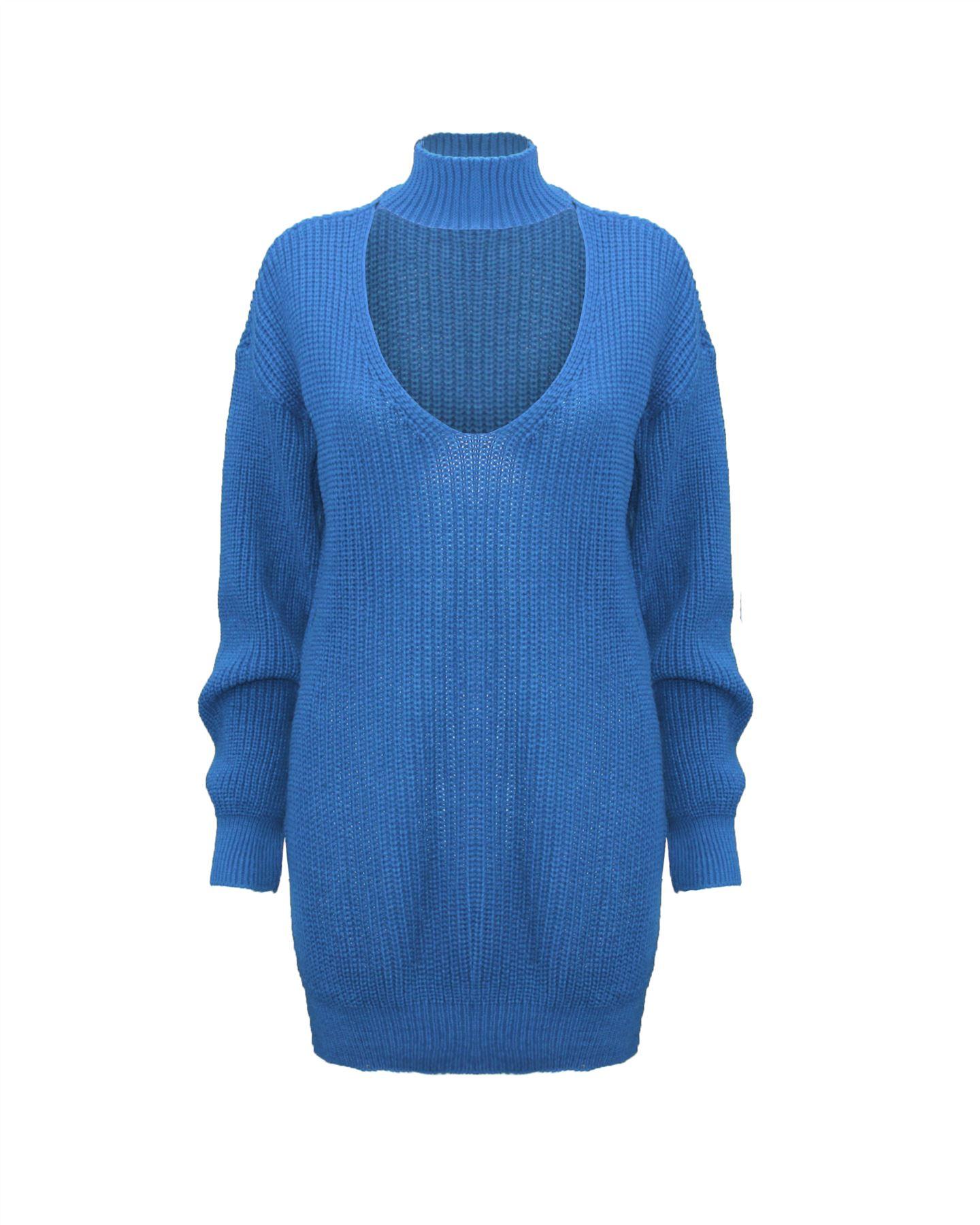 Le-donne-Donna-A-Maglia-Girocollo-Maglione-a-trama-grossa-Collo-Top-Baggy-Over-dimensionati-sweater miniatura 10