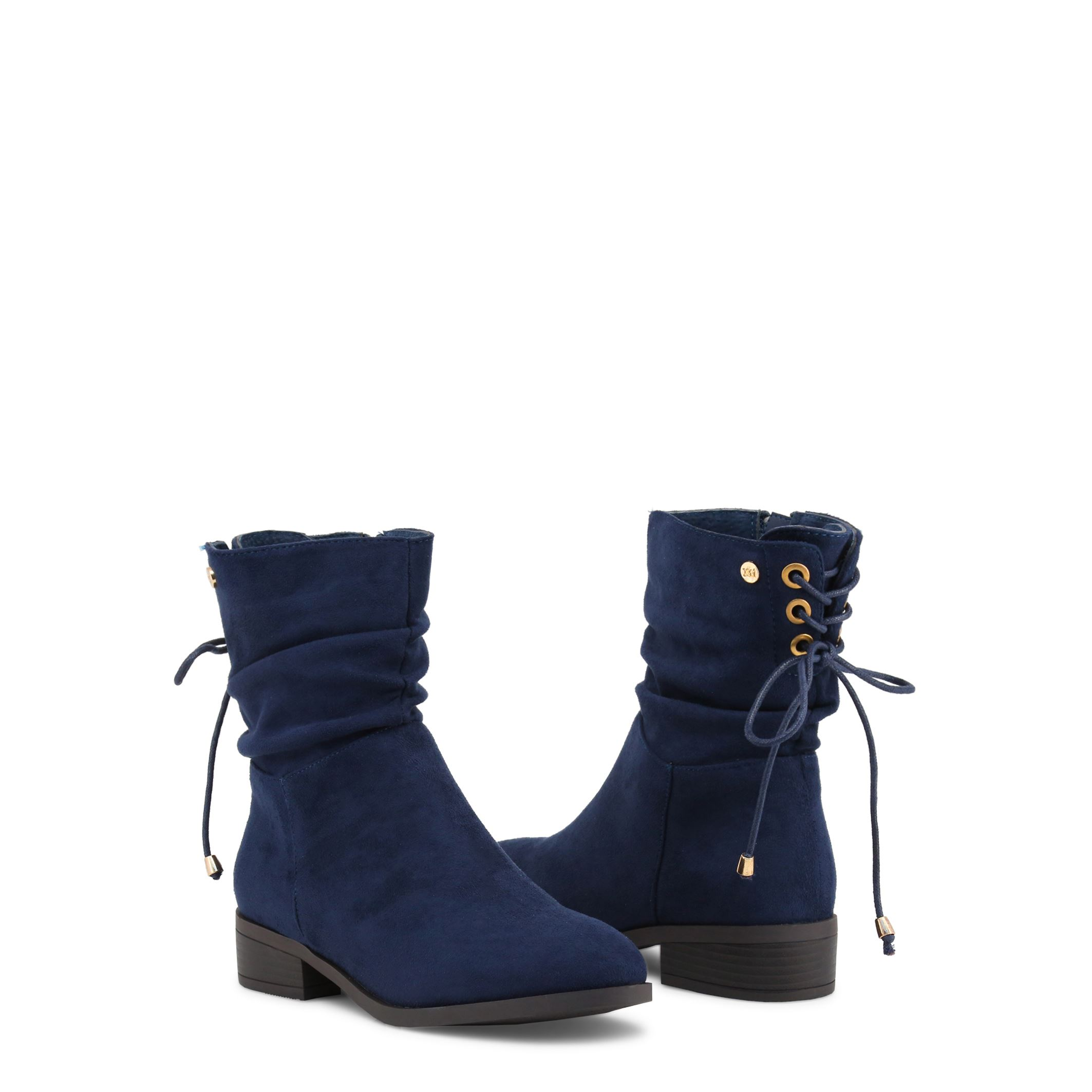 Xti Womens Navy Blue Ankle Boots Side Zip Fastening Rear Lace