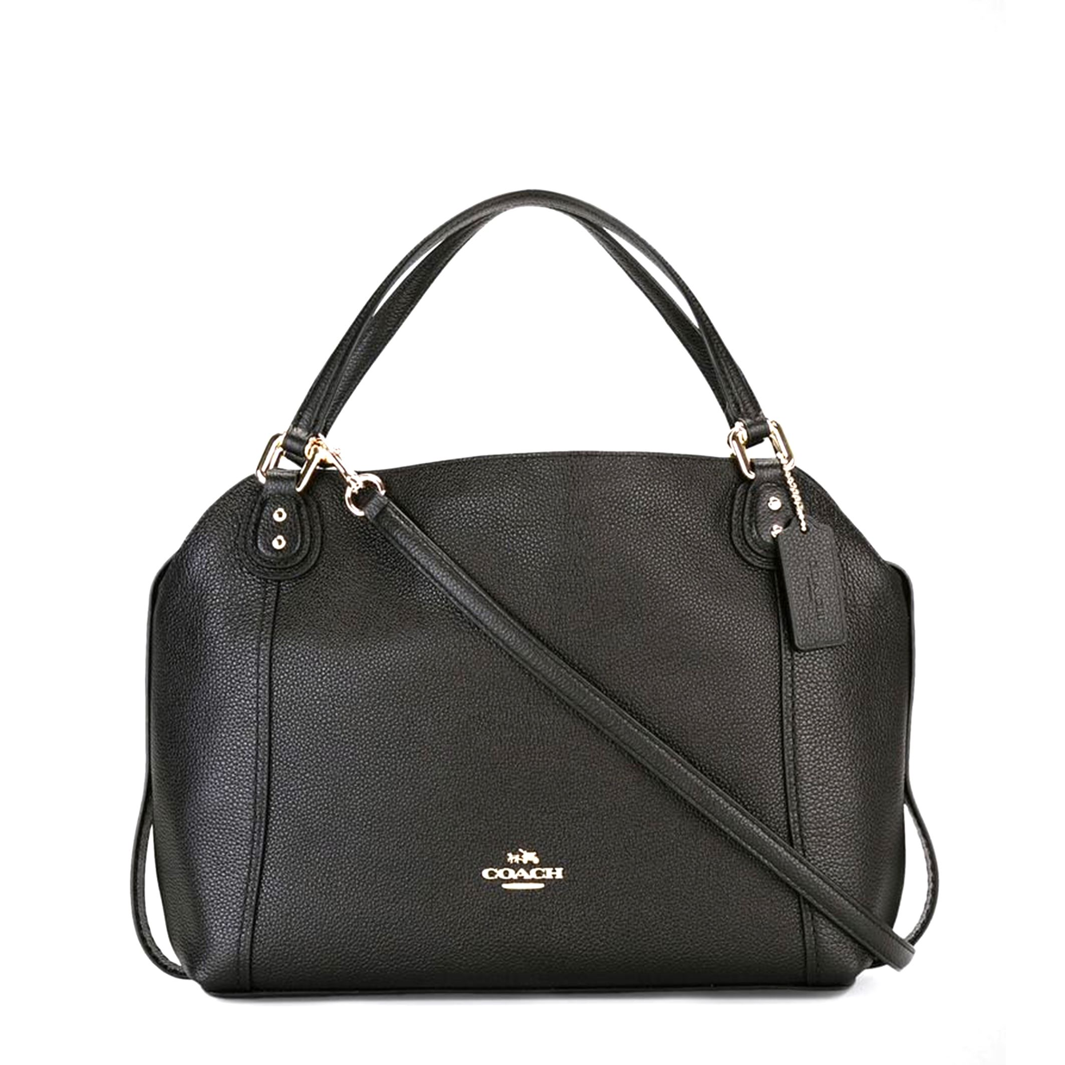 Details about Coach Women s Black Leather Handbag Metallic Fastening  Removable Strap Lined 6804443b13