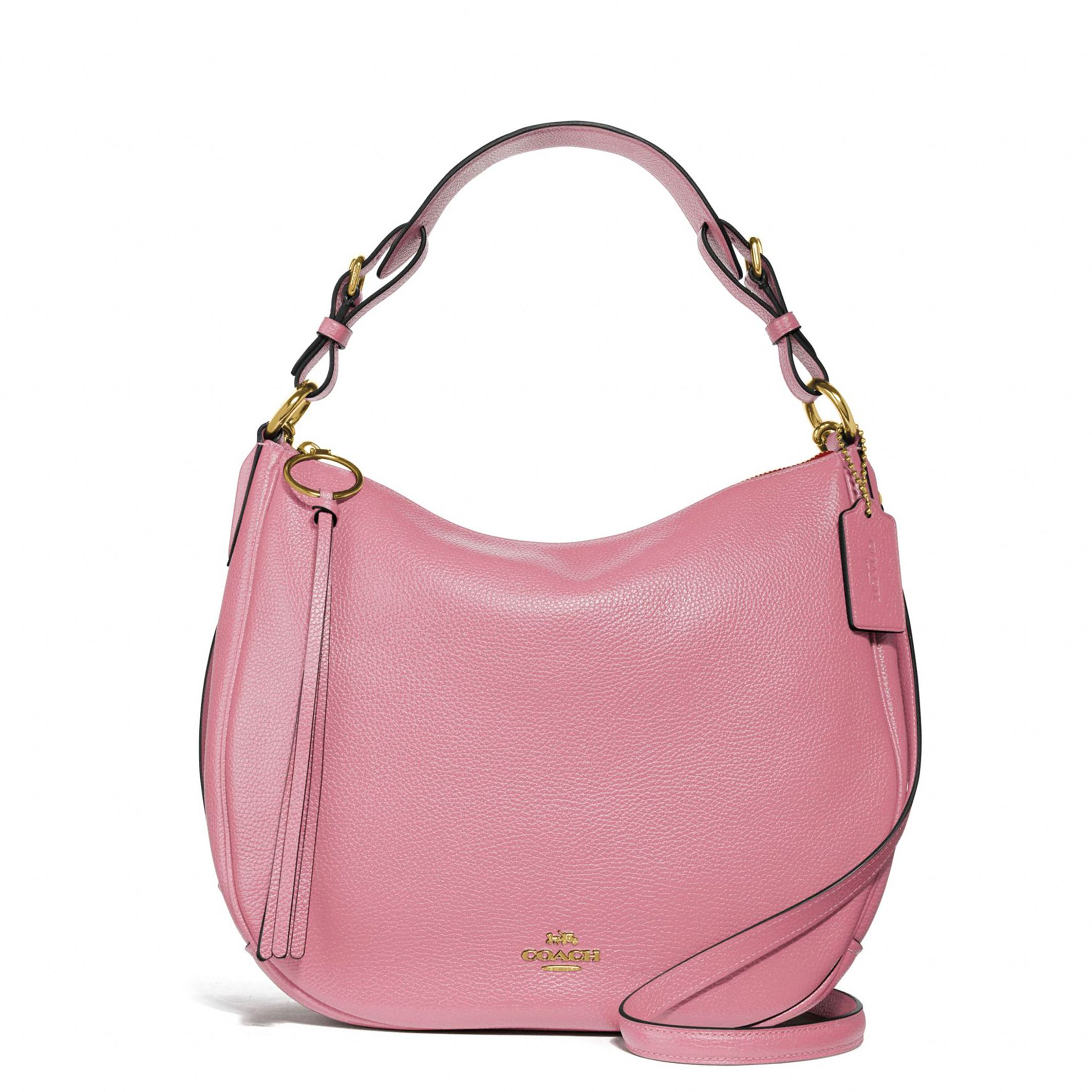 52fb590facbb Details about Coach Women s Pink Hobo Shoulder Bag Zip Leather Removable  Strap Pockets