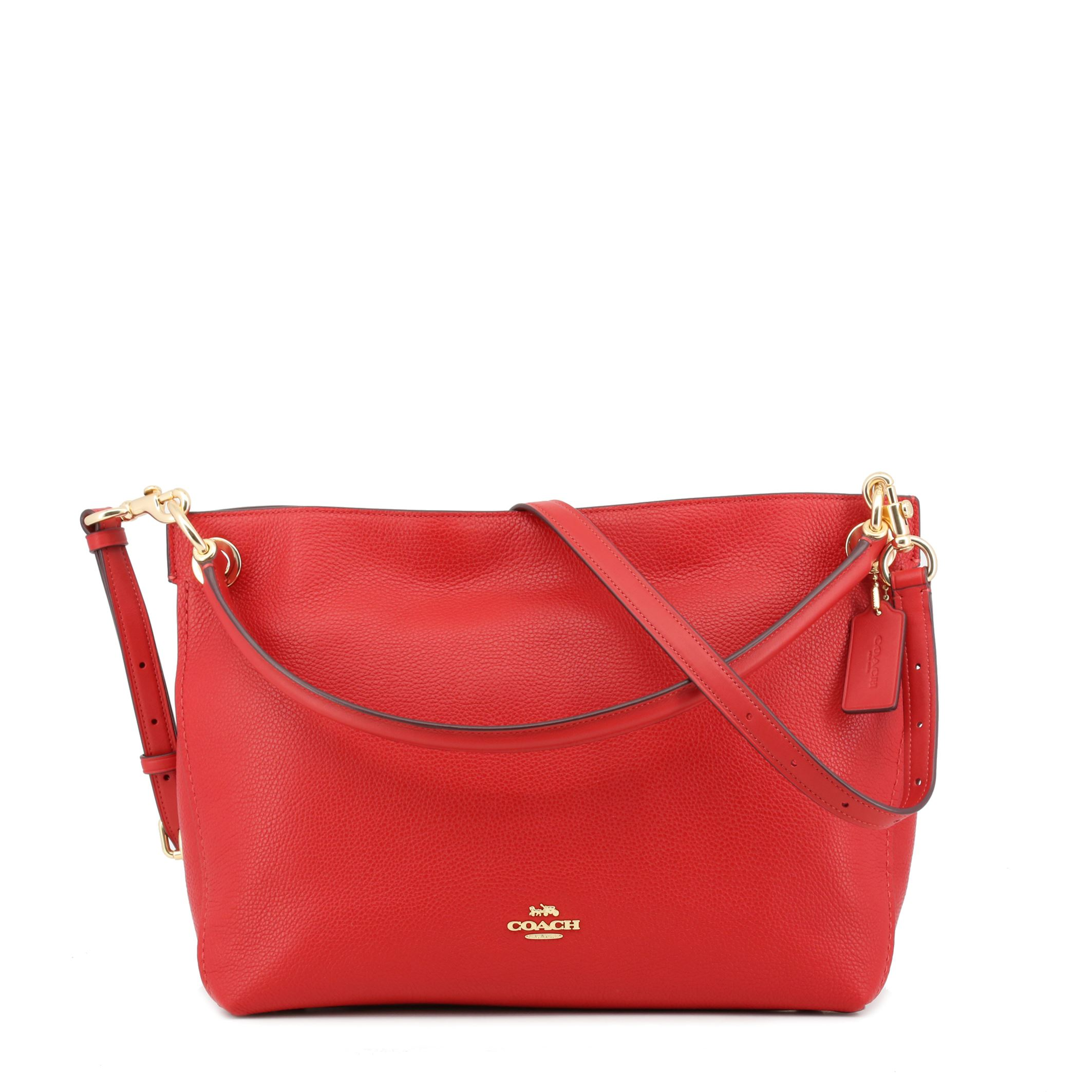 3c5b3fbcd2eb Details about Coach Women s Red Leather Shoulder Bag Zip Closing Removable  Strap