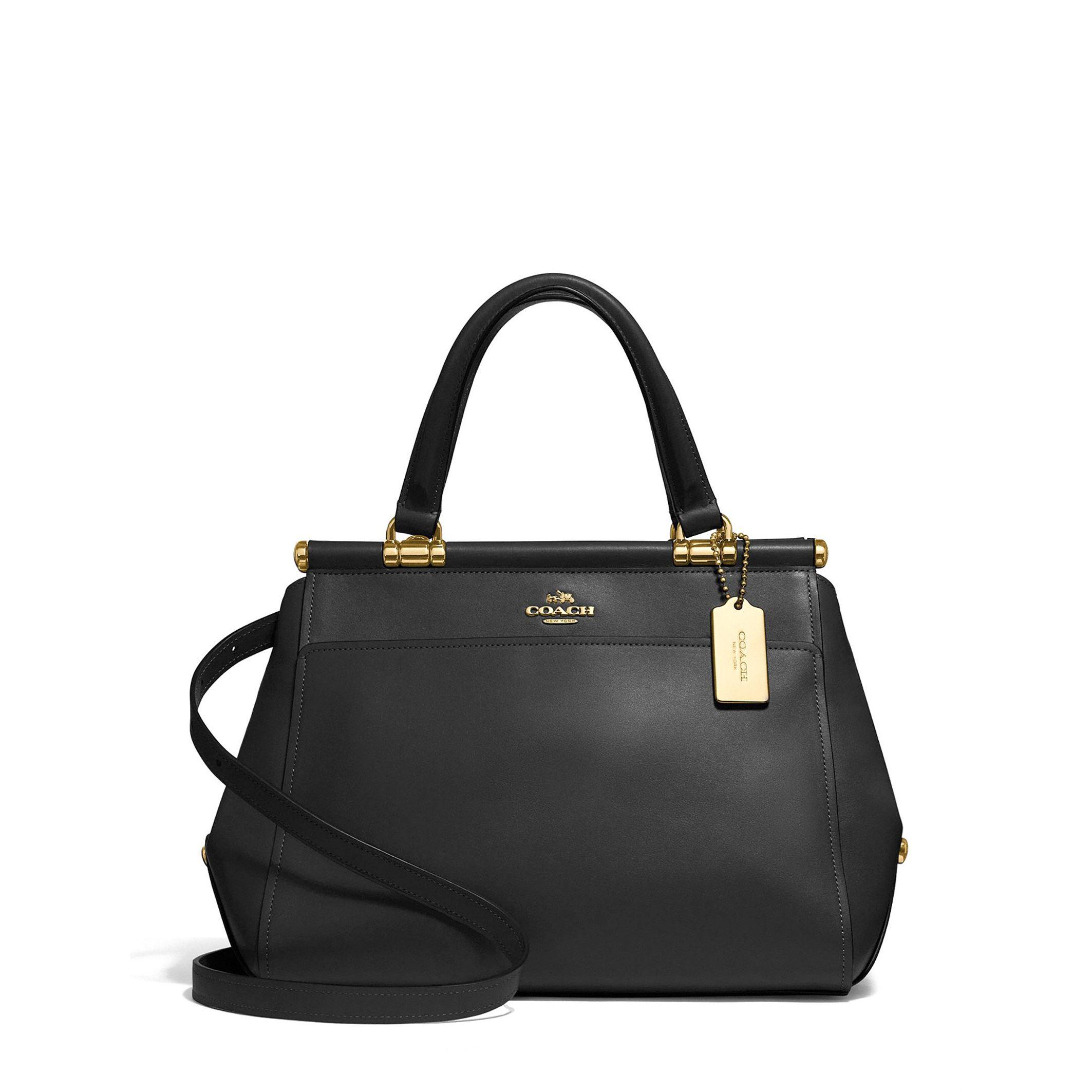 Details about Coach Women s Shoulder Handbag Black Leather Zip Fastening  Removable Strap 3af4af490c