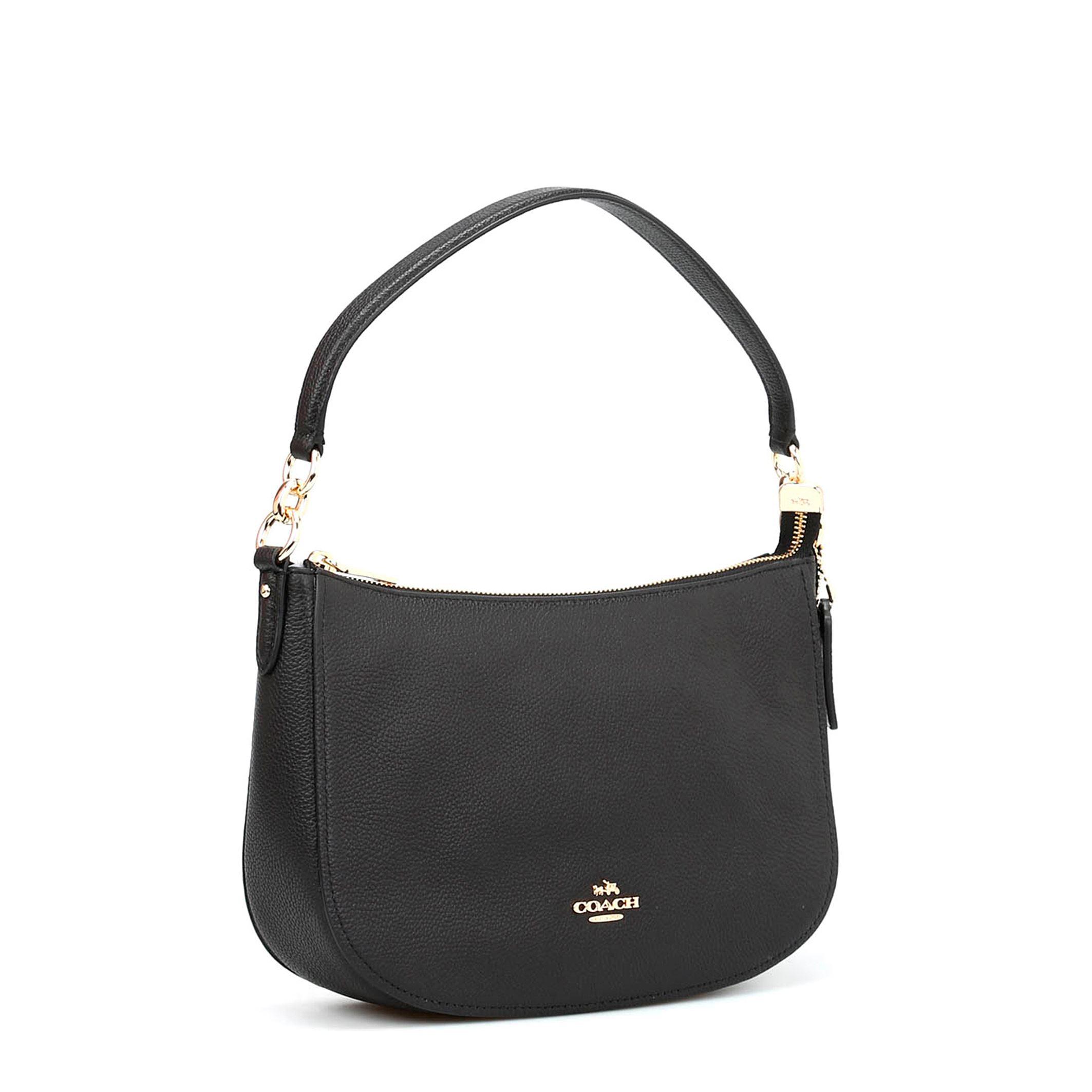 Details about Coach Women s Black Leather Hobo Shoulder Bag Removable Strap  Pockets 793bea306b