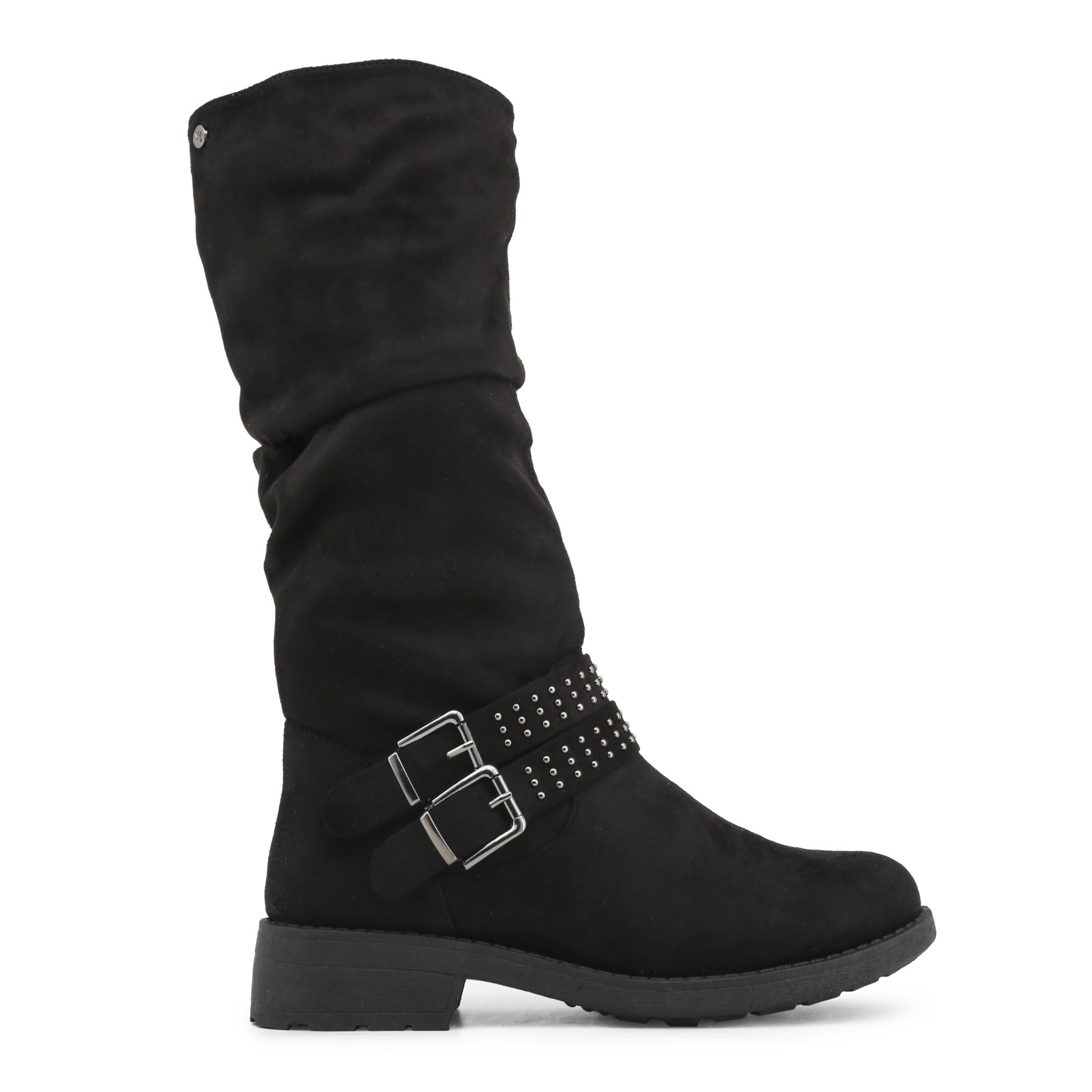 a99137b6c19 Details about Xti Women s Black High Boots Side Zip Closing w  Buckle    Studs
