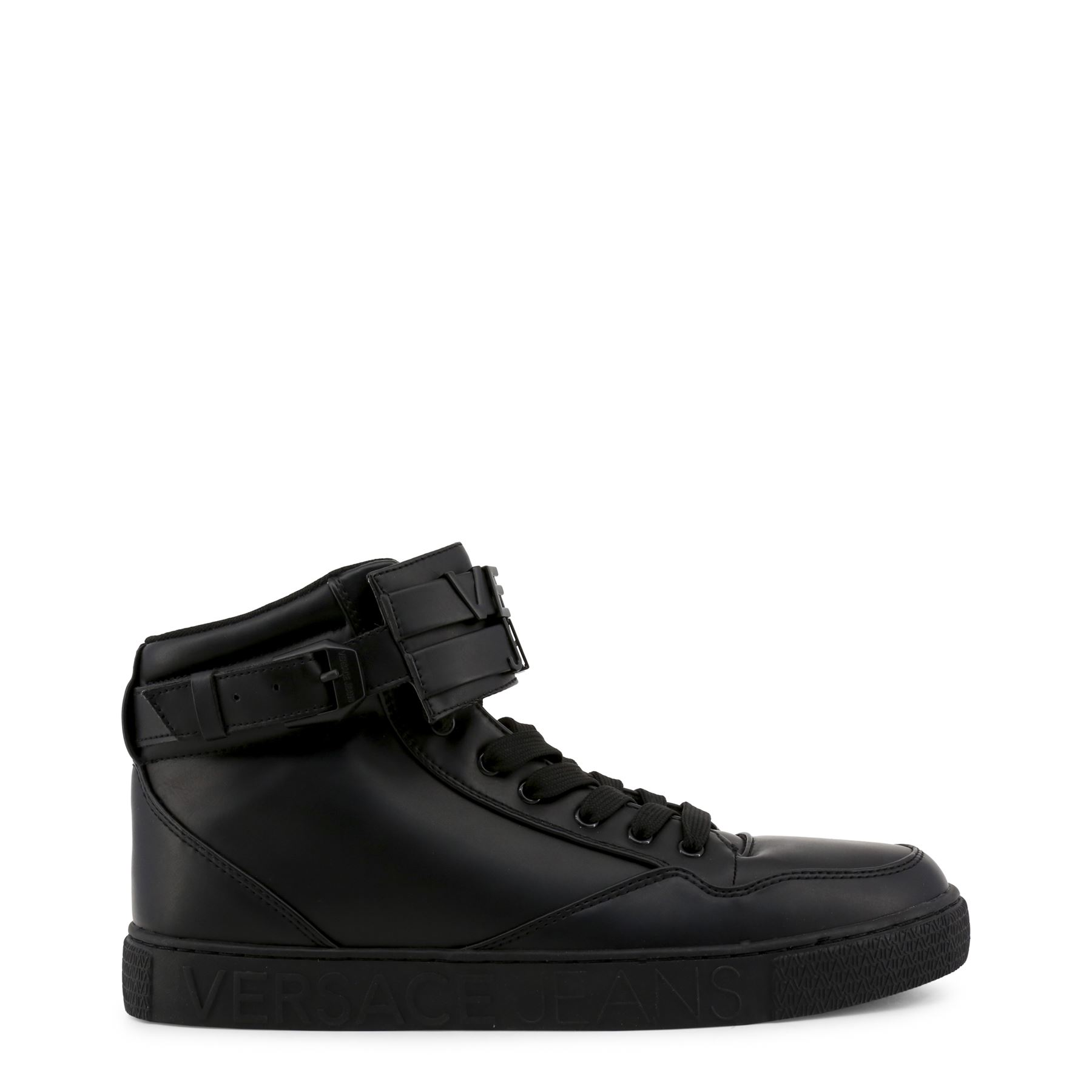 cc15a0923f2d Details about Versace Jeans Men s Casual Black High-Top Sneakers Leather  Lace-Up