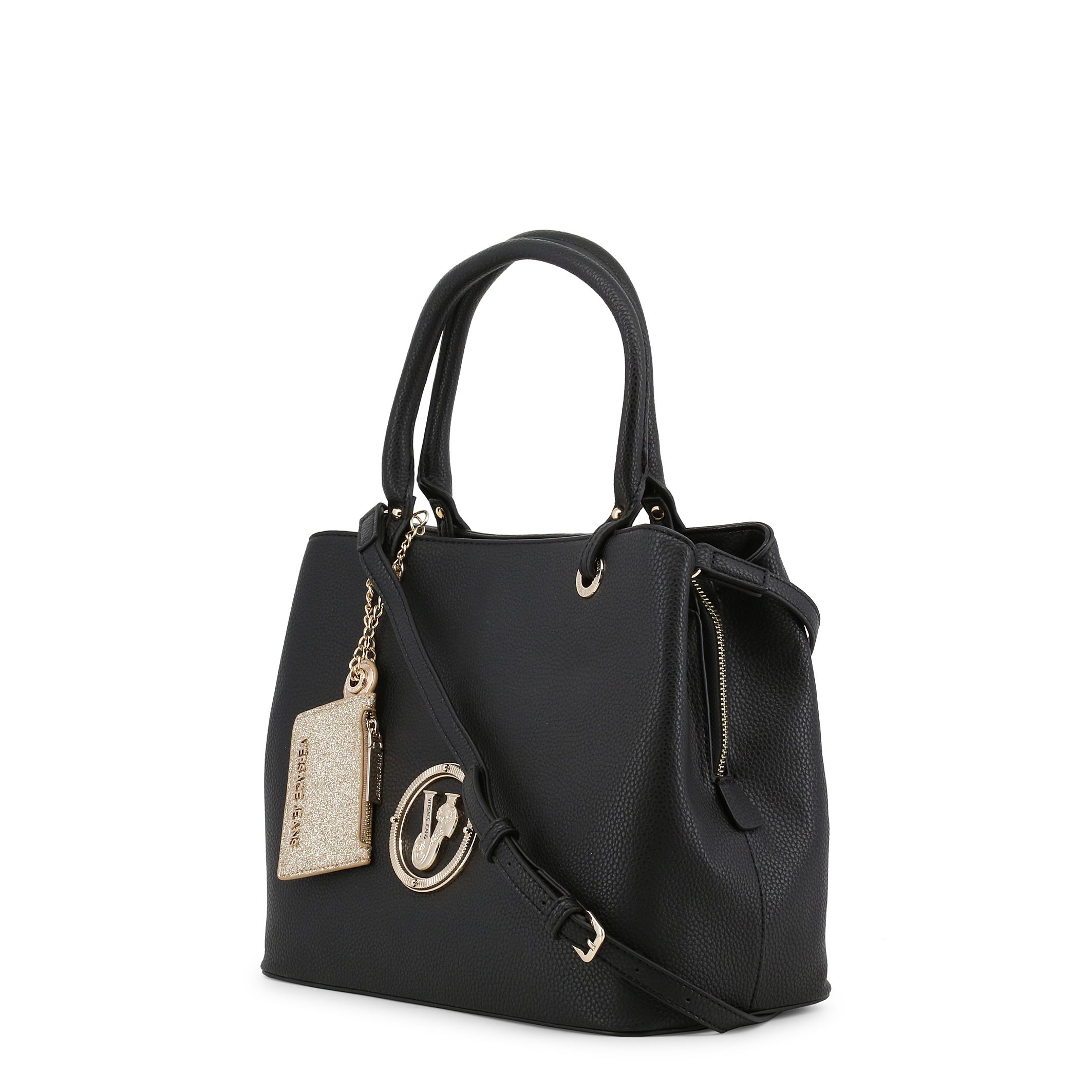 1eb6f936df48 Details about Versace Jeans Women s Leather Black Tote Shoulder Bag Zip  Fastening